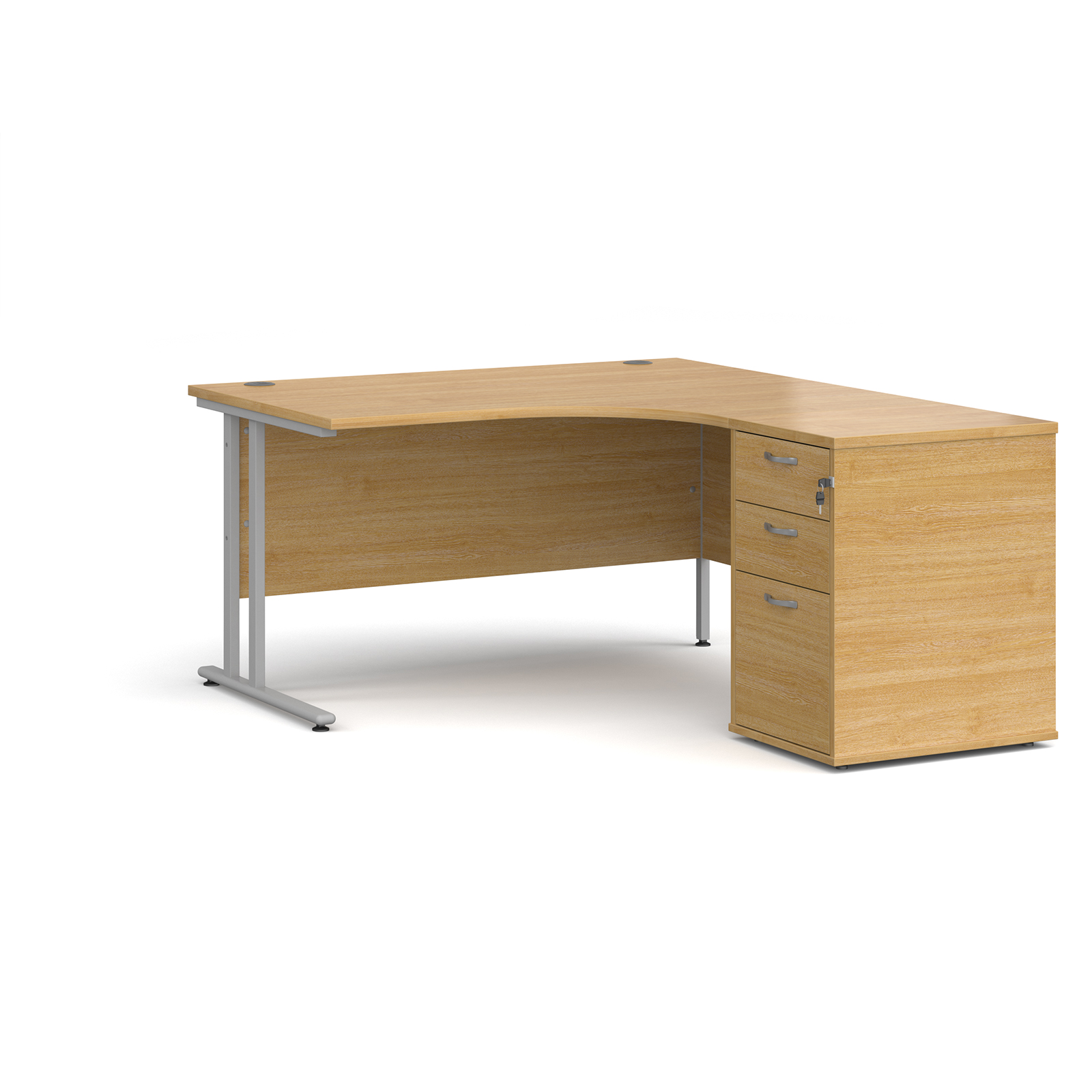 Right Handed Maestro 25 right hand ergonomic desk 1400mm with silver cantilever frame and desk high pedestal - oak