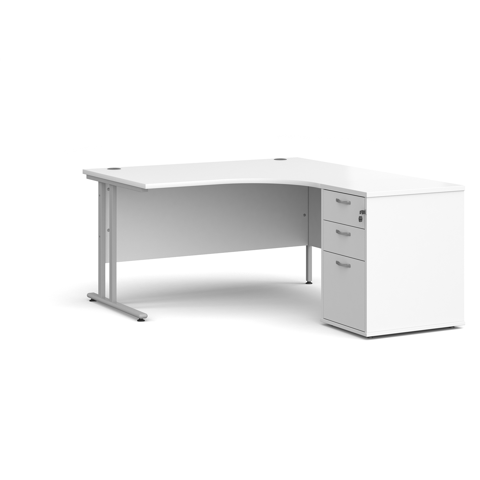 Right Handed Maestro 25 right hand ergonomic desk 1400mm with silver cantilever frame and desk high pedestal - white