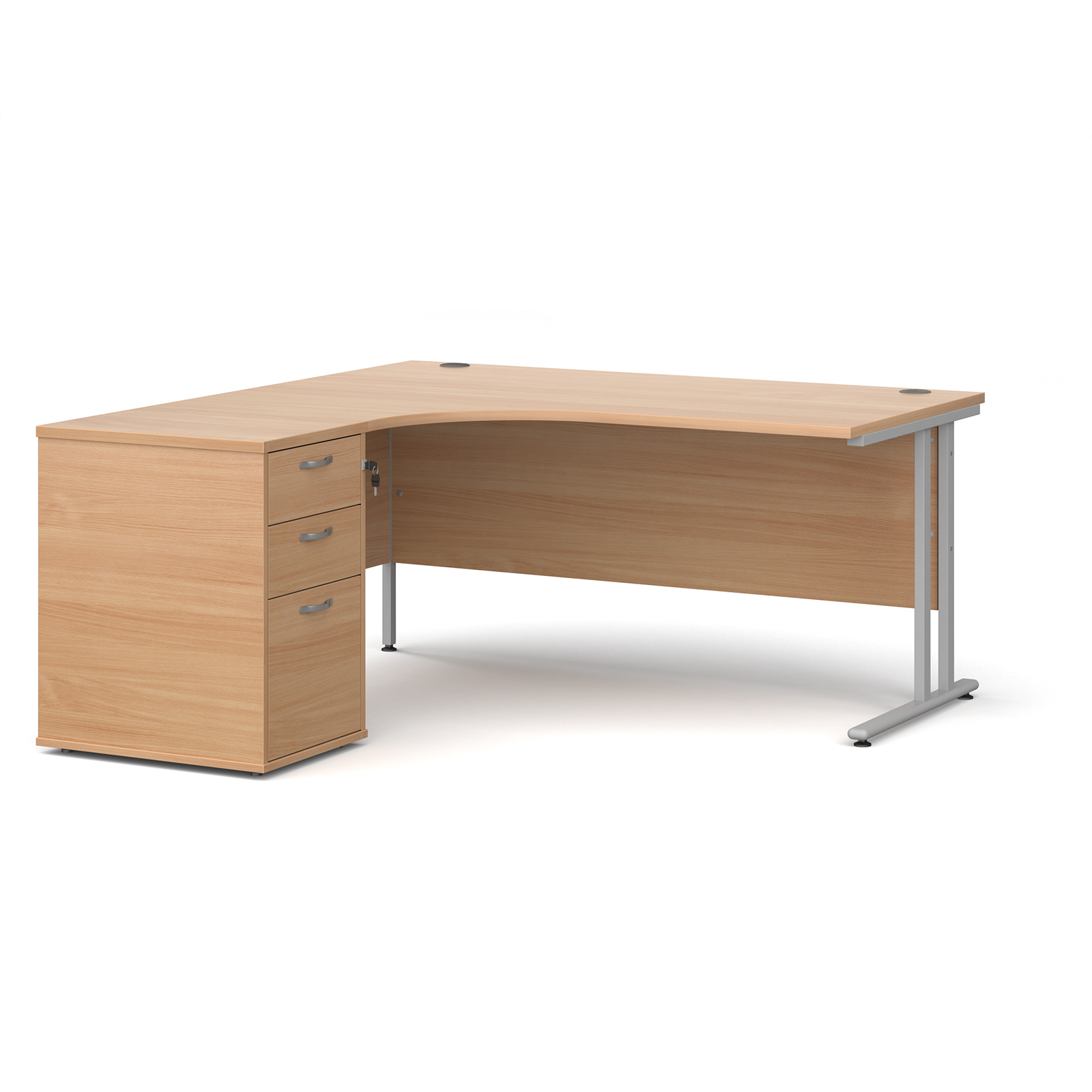 Left Handed Maestro 25 left hand ergonomic desk 1600mm with silver cantilever frame and desk high pedestal - beech