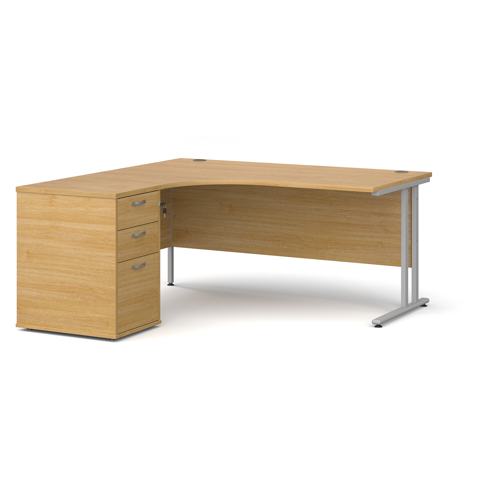 Left Handed Maestro 25 left hand ergonomic desk 1600mm with silver cantilever frame and desk high pedestal - oak