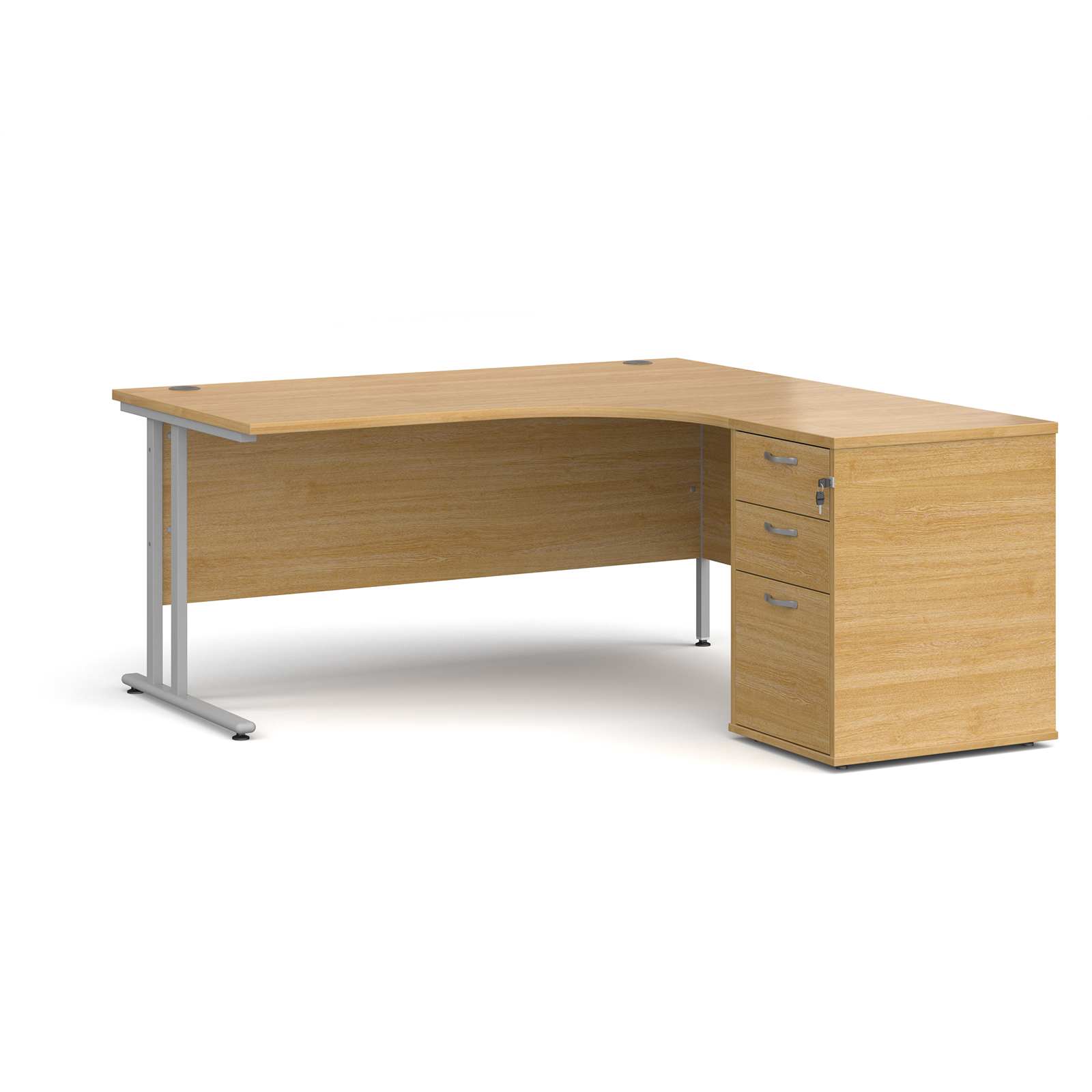 Right Handed Maestro 25 right hand ergonomic desk 1600mm with silver cantilever frame and desk high pedestal - oak