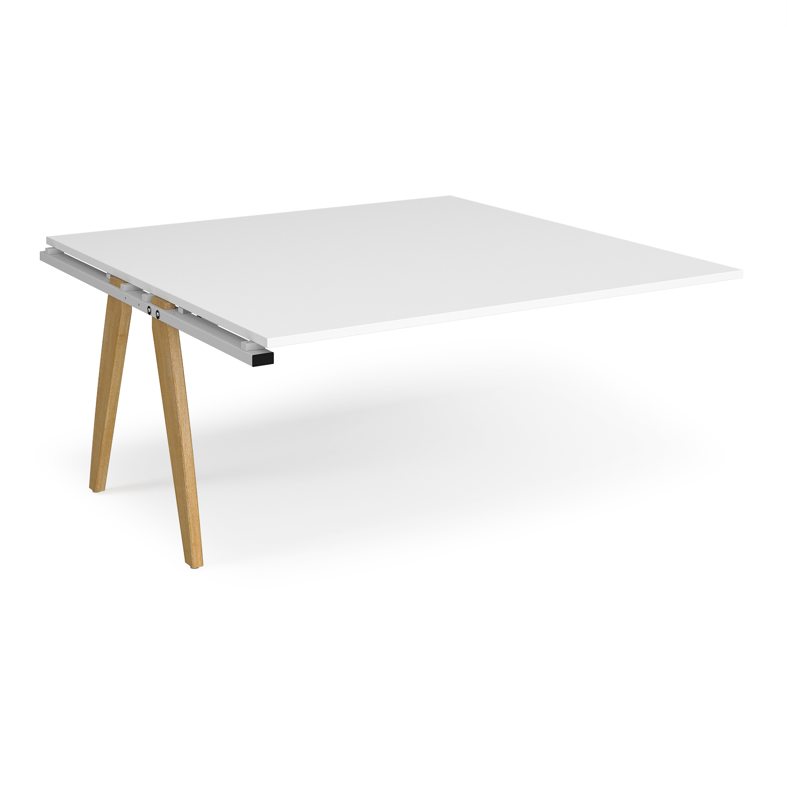 Fuze boardroom table add on unit 1600mm x 1600mm - white frame, white top