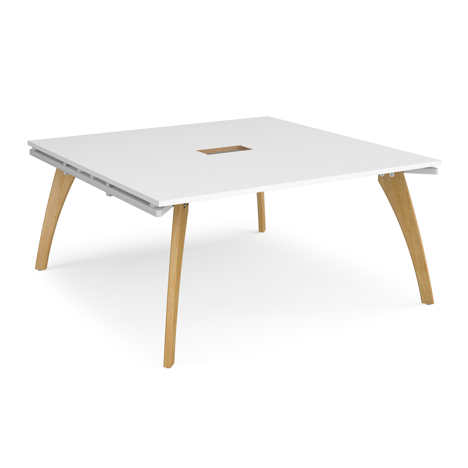 Fuze square boardroom table 1600mm x 1600mm with central cutout 272mm x 132mm - white frame, white top