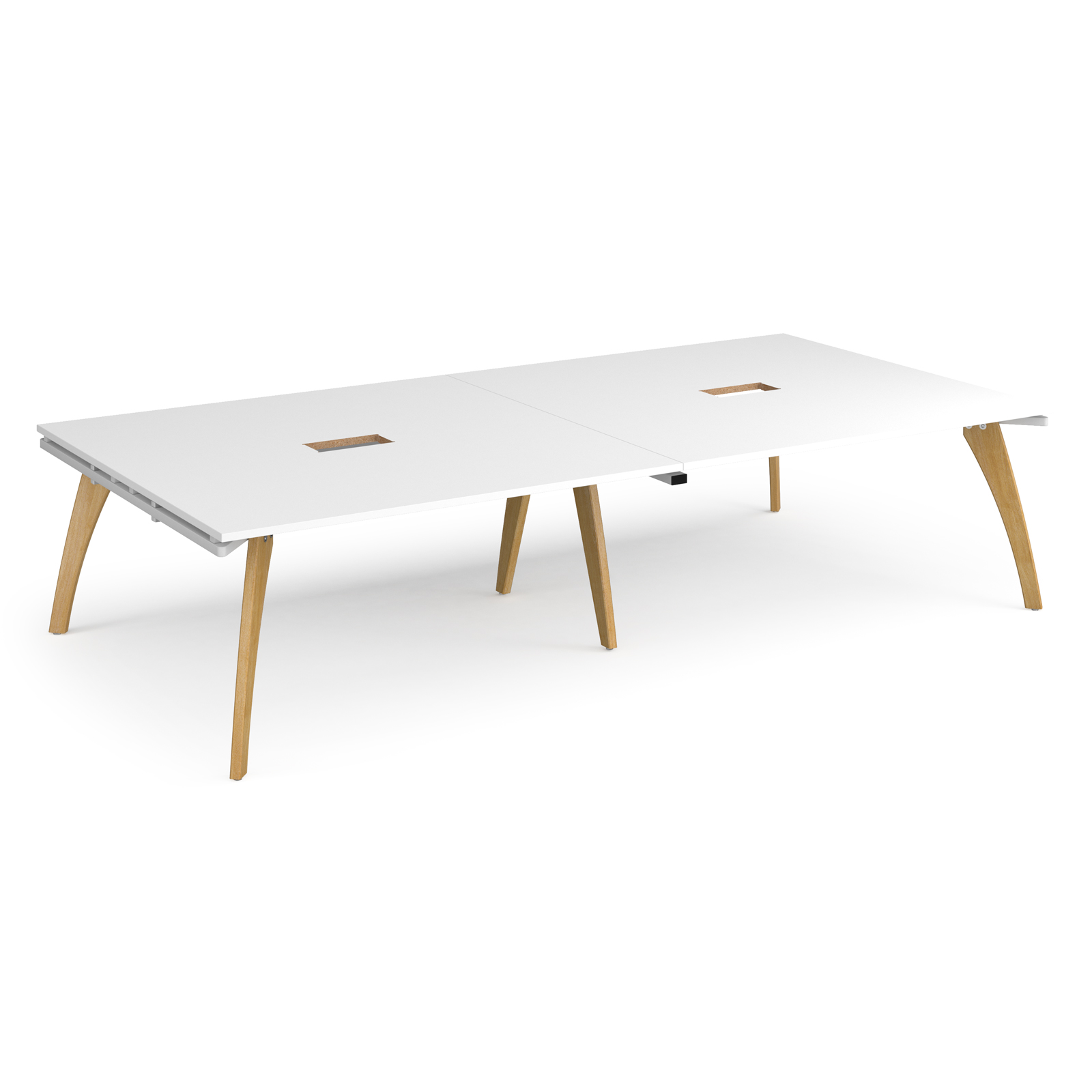 Fuze rectangular boardroom table 3200mm x 1600mm with 2 cutouts 272mm x 132mm - white frame, white top