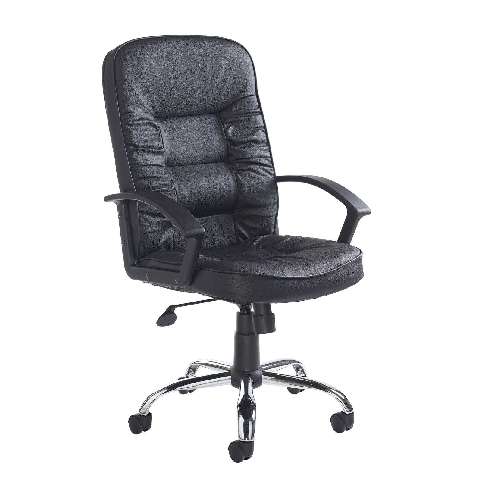 Executive Chairs Hertford high back managers chair - black leather faced