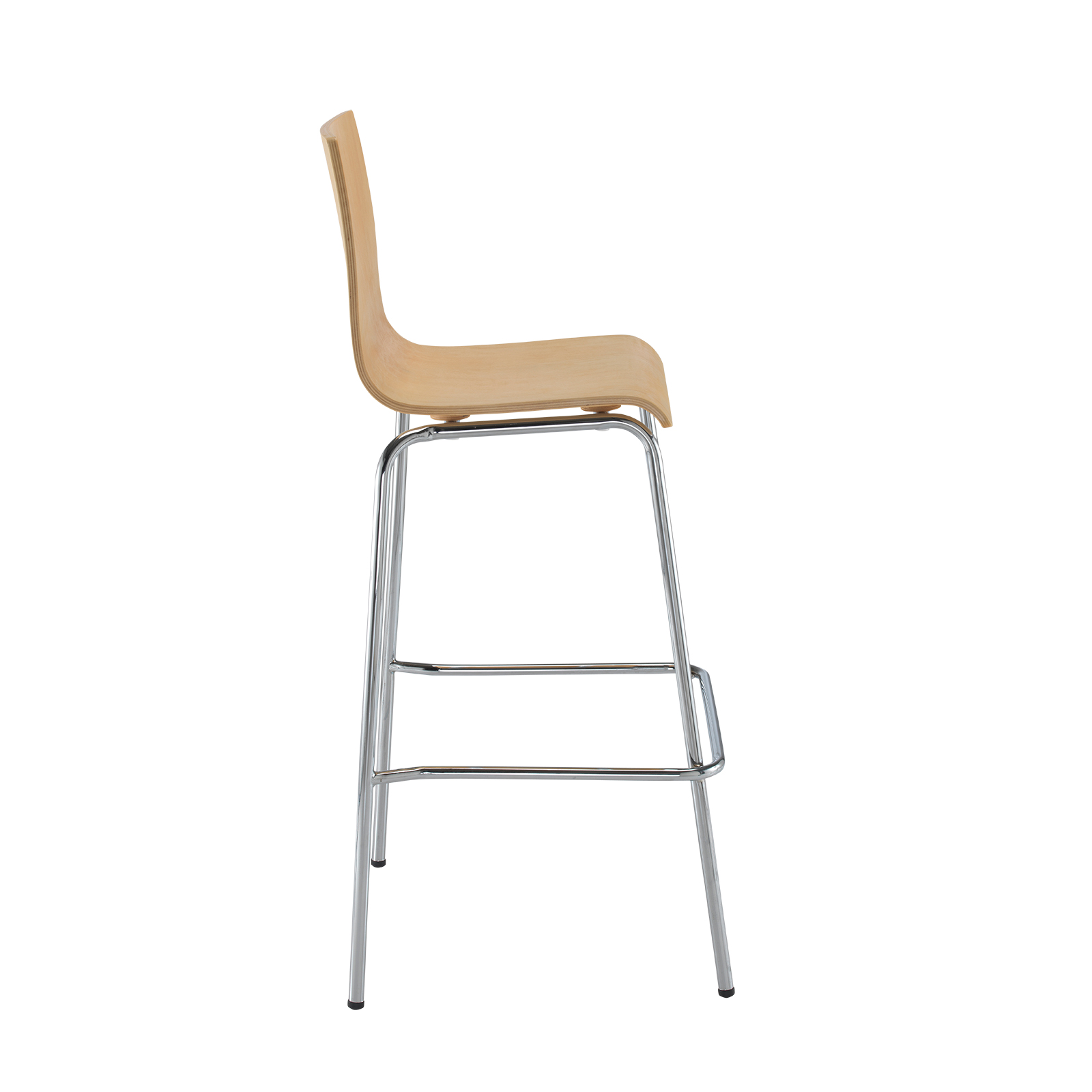 Fundamental dining stool in beech with chrome frame