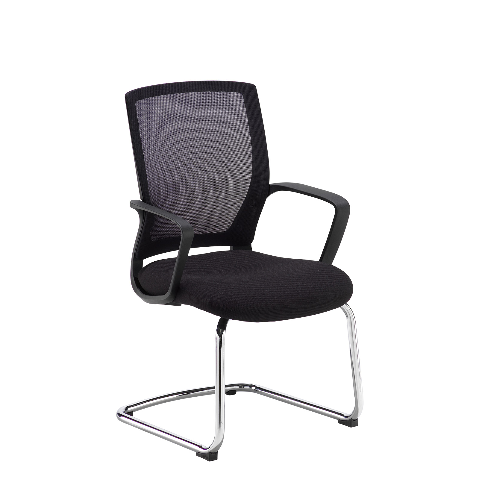 Boardroom / Meeting Jonas black mesh back visitors chair with black fabric seat and chrome cantilever frame