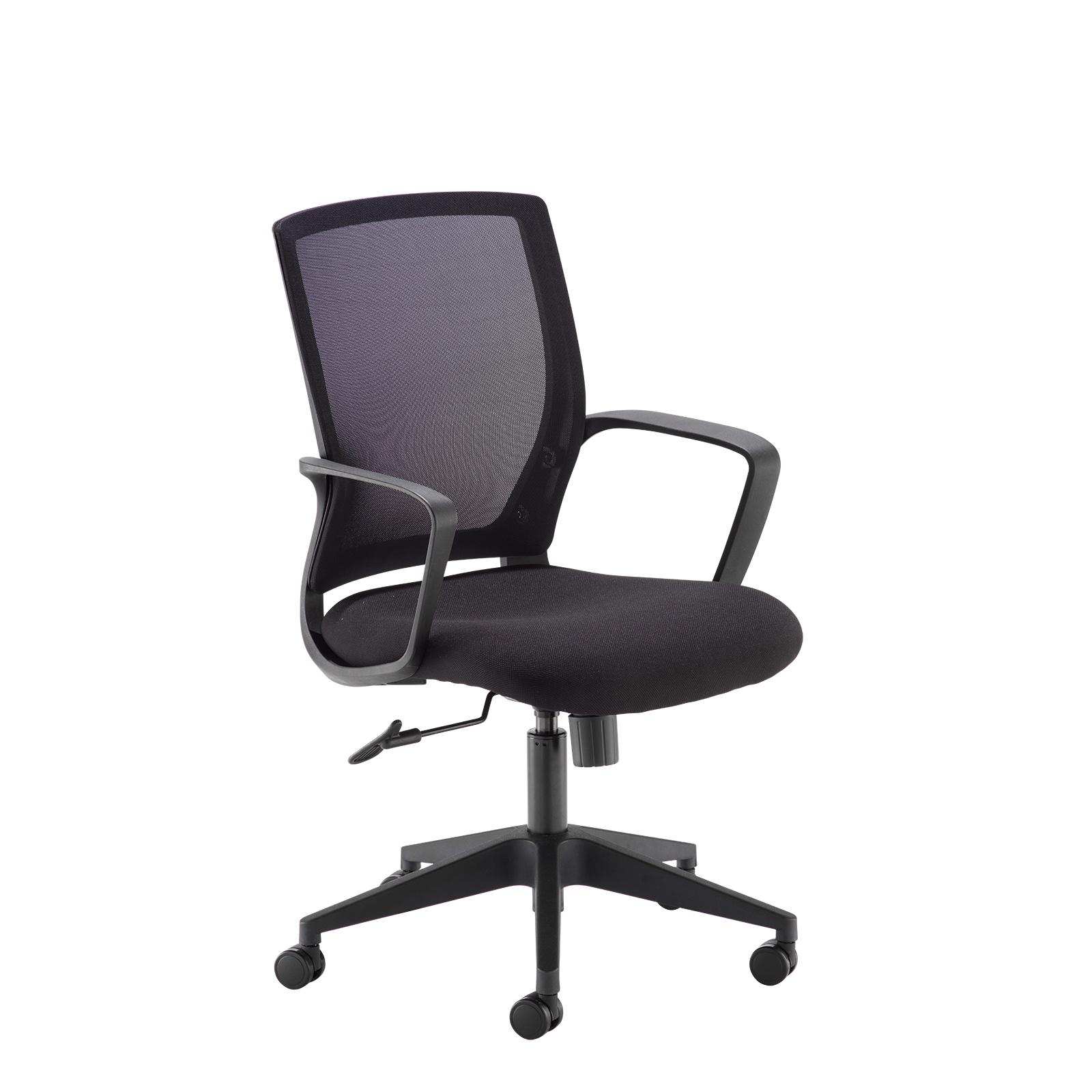 Desks Jonas black mesh back operator chair with black fabric seat and black base