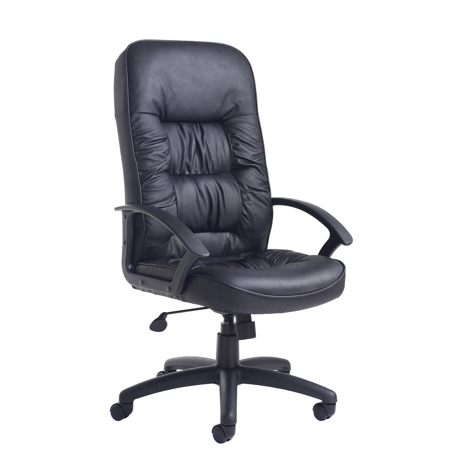 Executive Chairs King high back managers chair - black leather faced