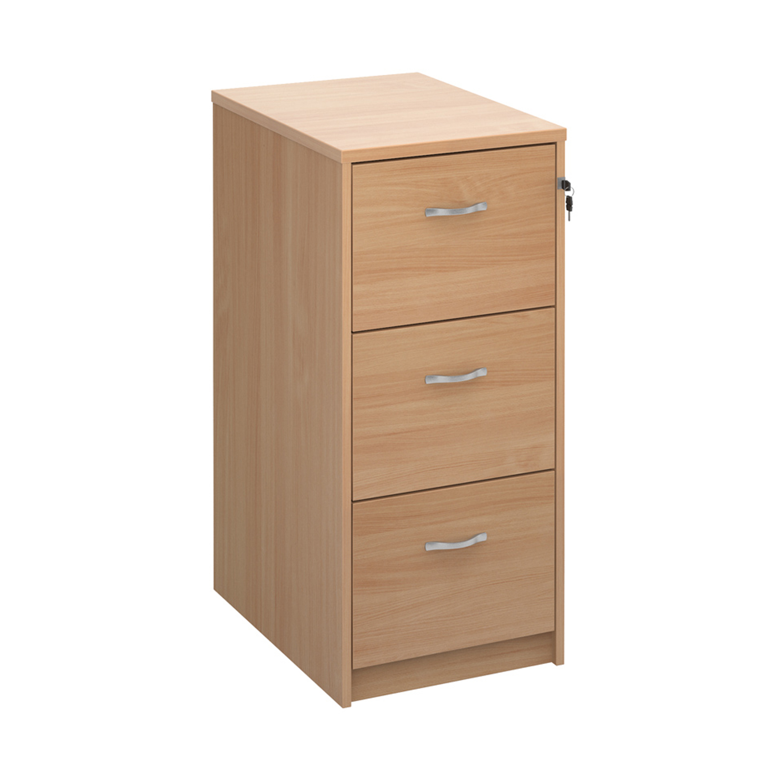 Wood Wooden 3 drawer filing cabinet with silver handles 1045mm high - beech