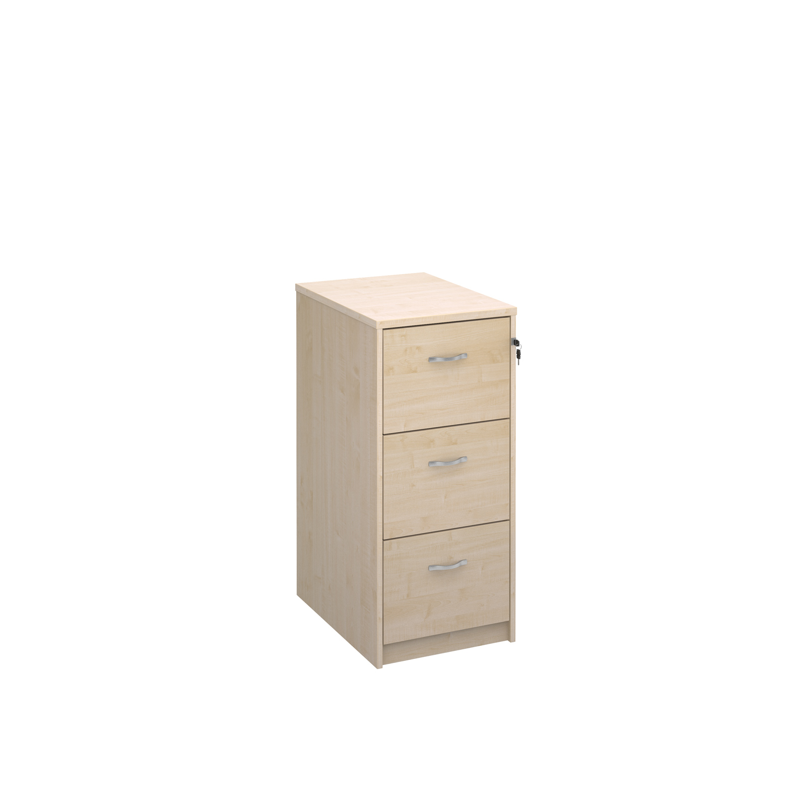 Wooden 3 drawer filing cabinet with silver handles 1045mm high - maple