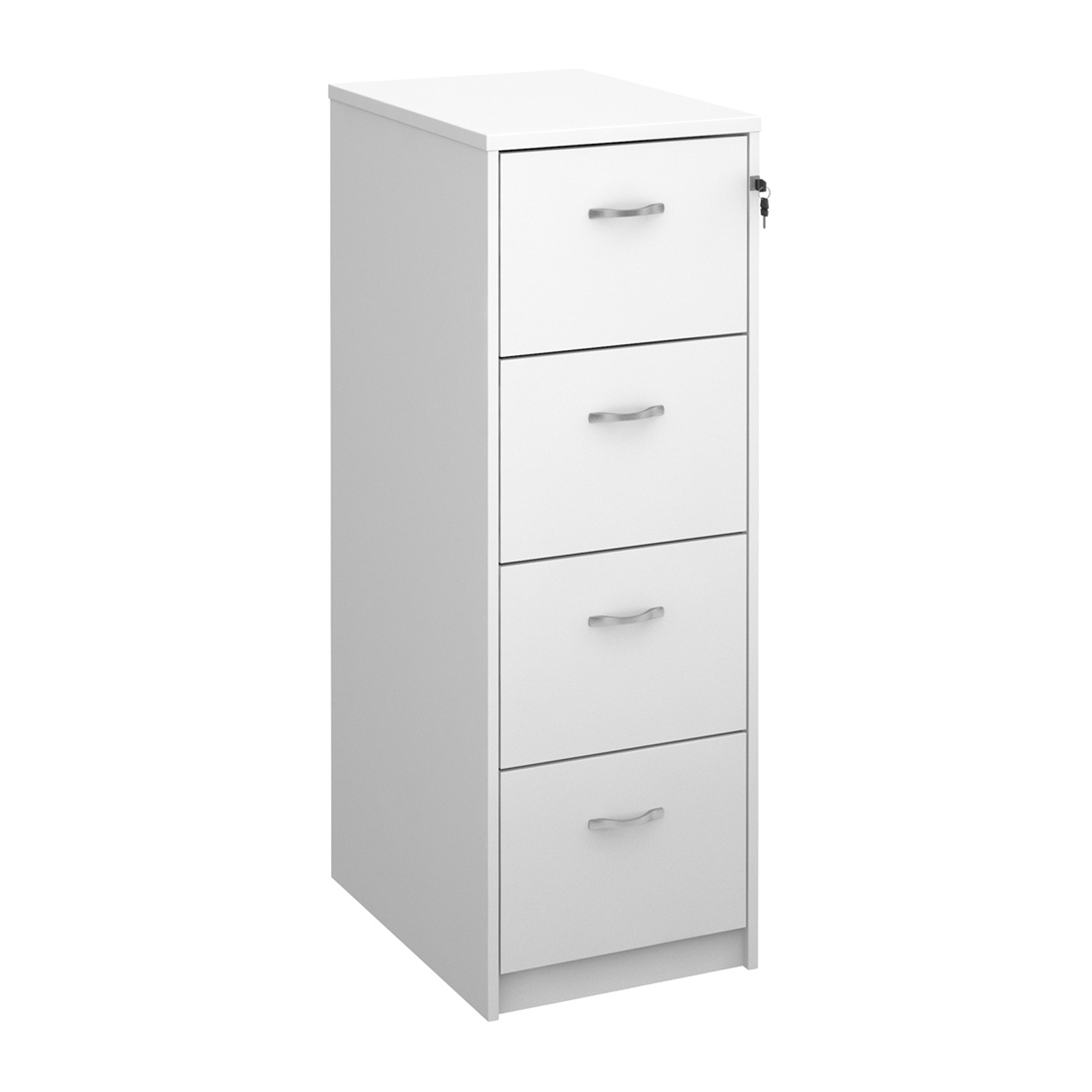 Wood Wooden 4 drawer filing cabinet with silver handles 1360mm high - white
