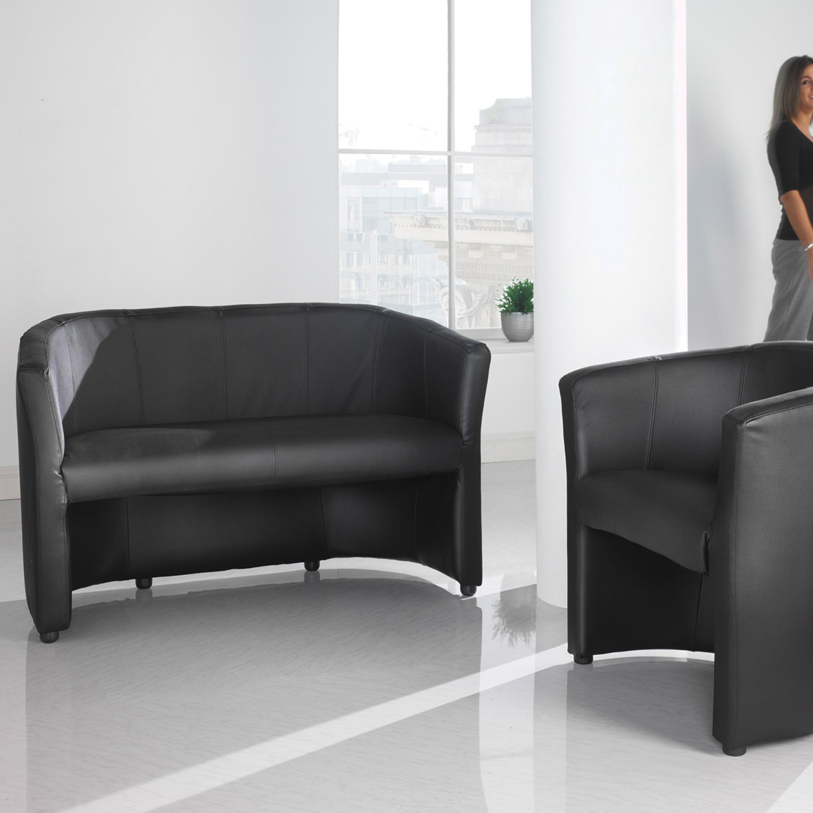 London reception single tub chair 670mm wide - black faux leather