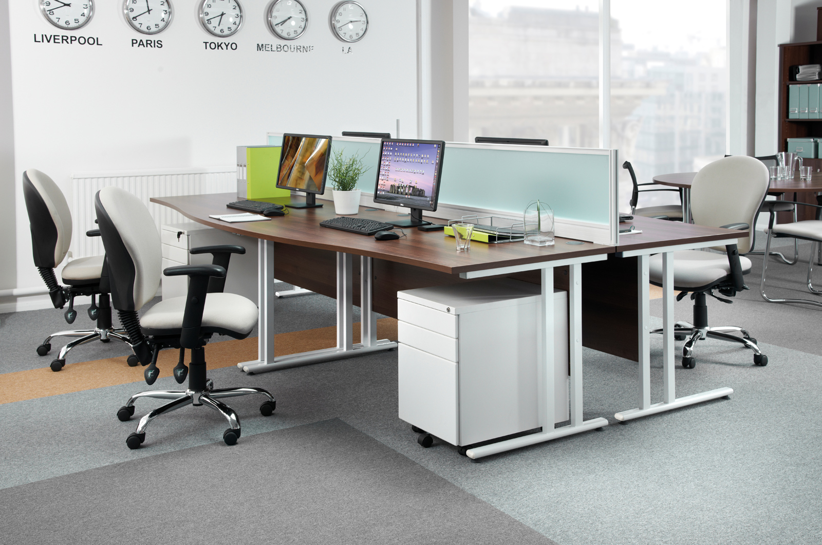 Maestro 25 straight desk 1600mm x 800mm with 2 and 3 drawer pedestals - white cantilever leg frame, white top
