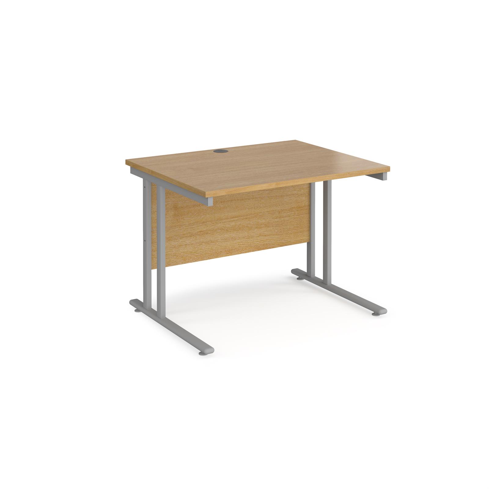 Rectangular Desks Maestro 25 straight desk 1000mm x 800mm - silver cantilever leg frame, oak top