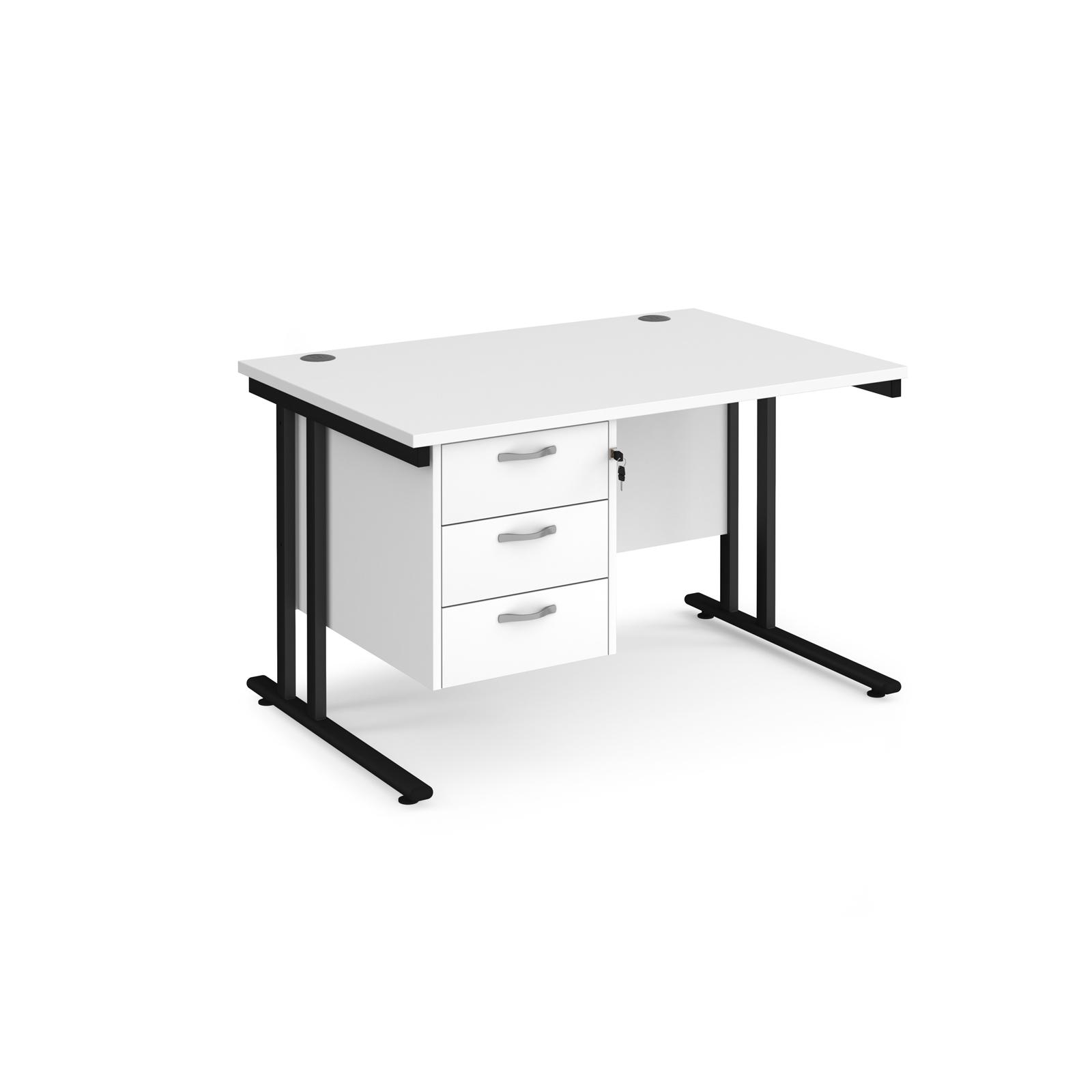 Rectangular Desks Maestro 25 straight desk 1200mm x 800mm with 3 drawer pedestal - black cantilever leg frame, white top