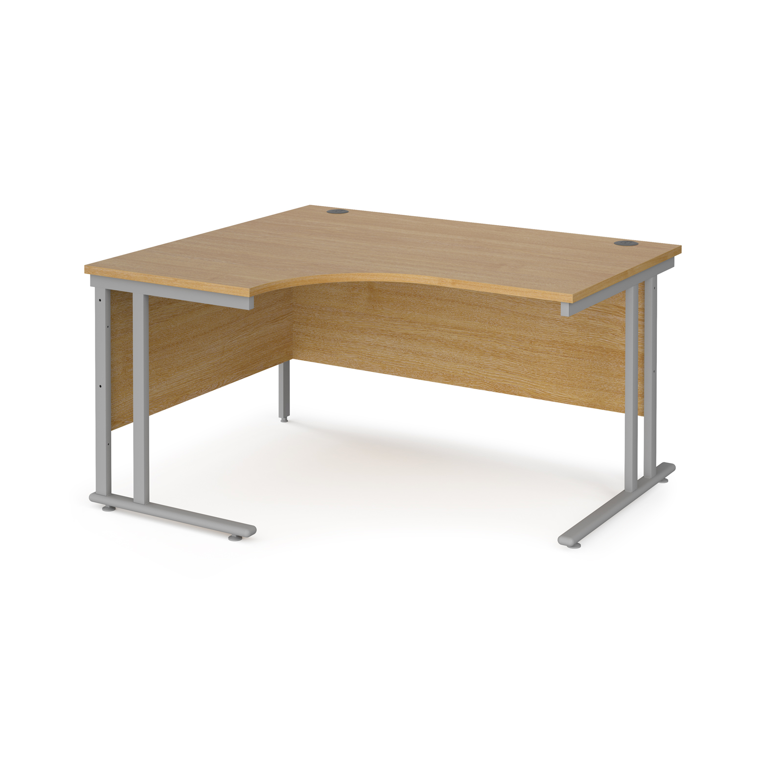 Left Handed Maestro 25 left hand ergonomic desk 1400mm wide - silver cantilever leg frame, oak top