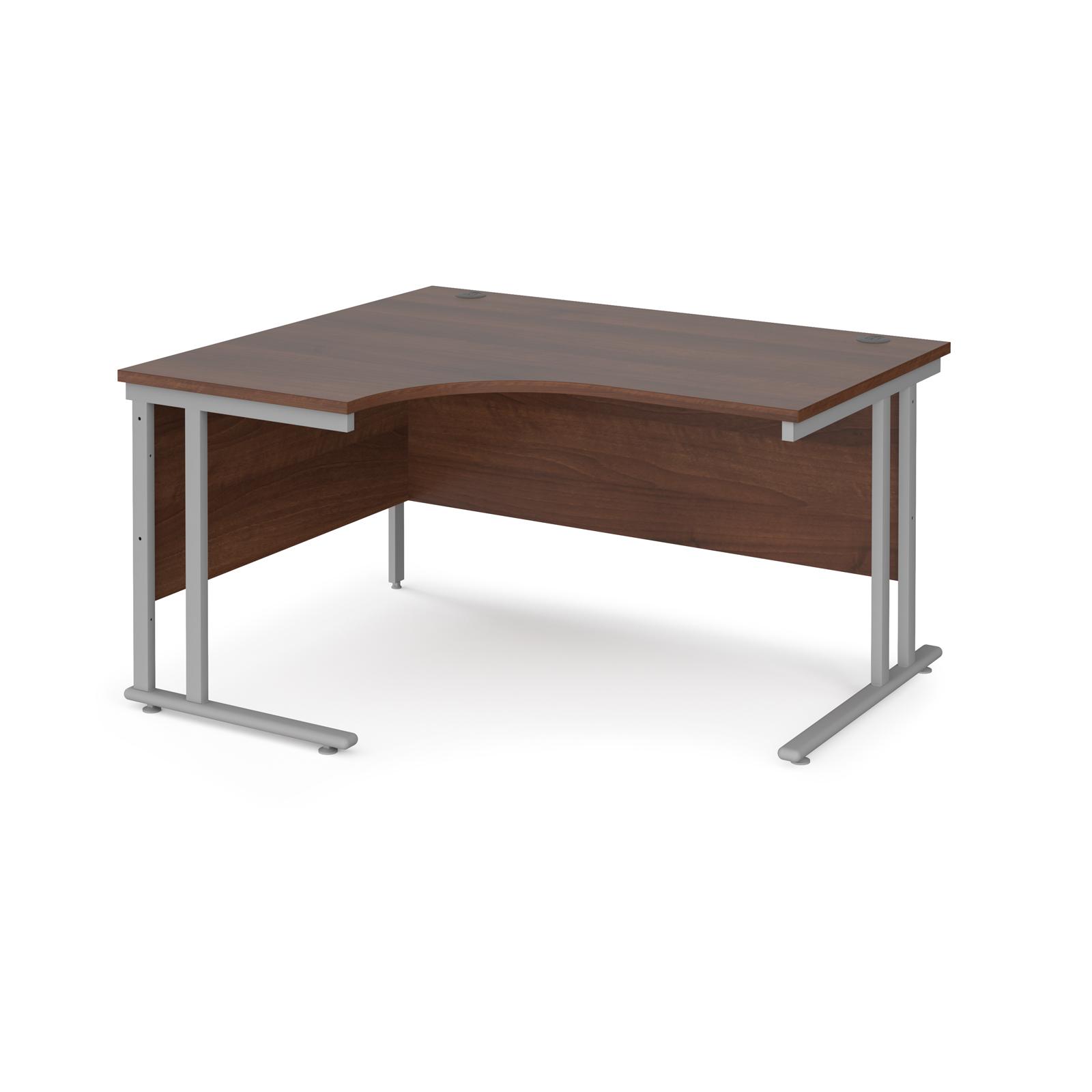 Left Handed Maestro 25 left hand ergonomic desk 1400mm wide - silver cantilever leg frame, walnut top