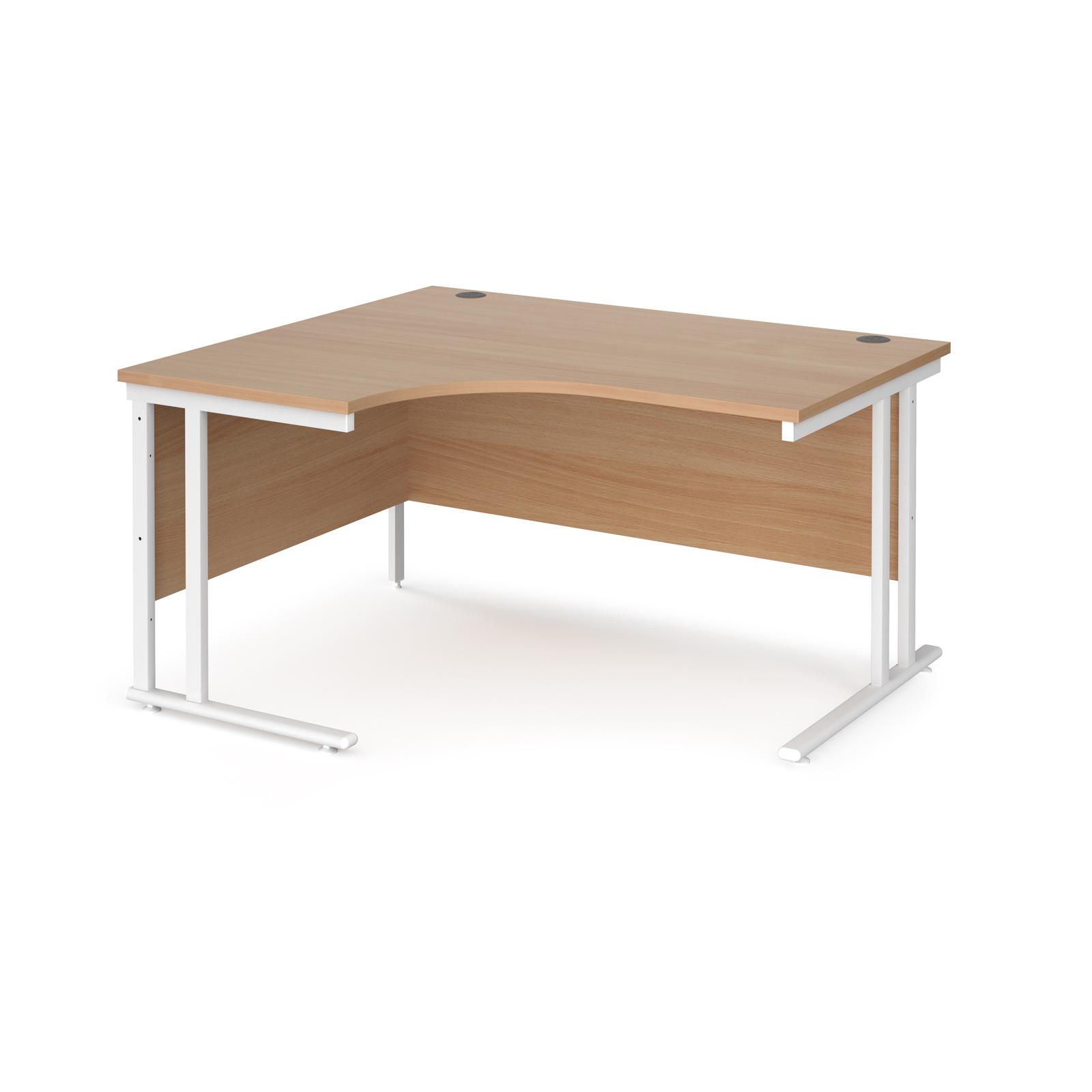 Left Handed Maestro 25 left hand ergonomic desk 1400mm wide - white cantilever leg frame, beech top