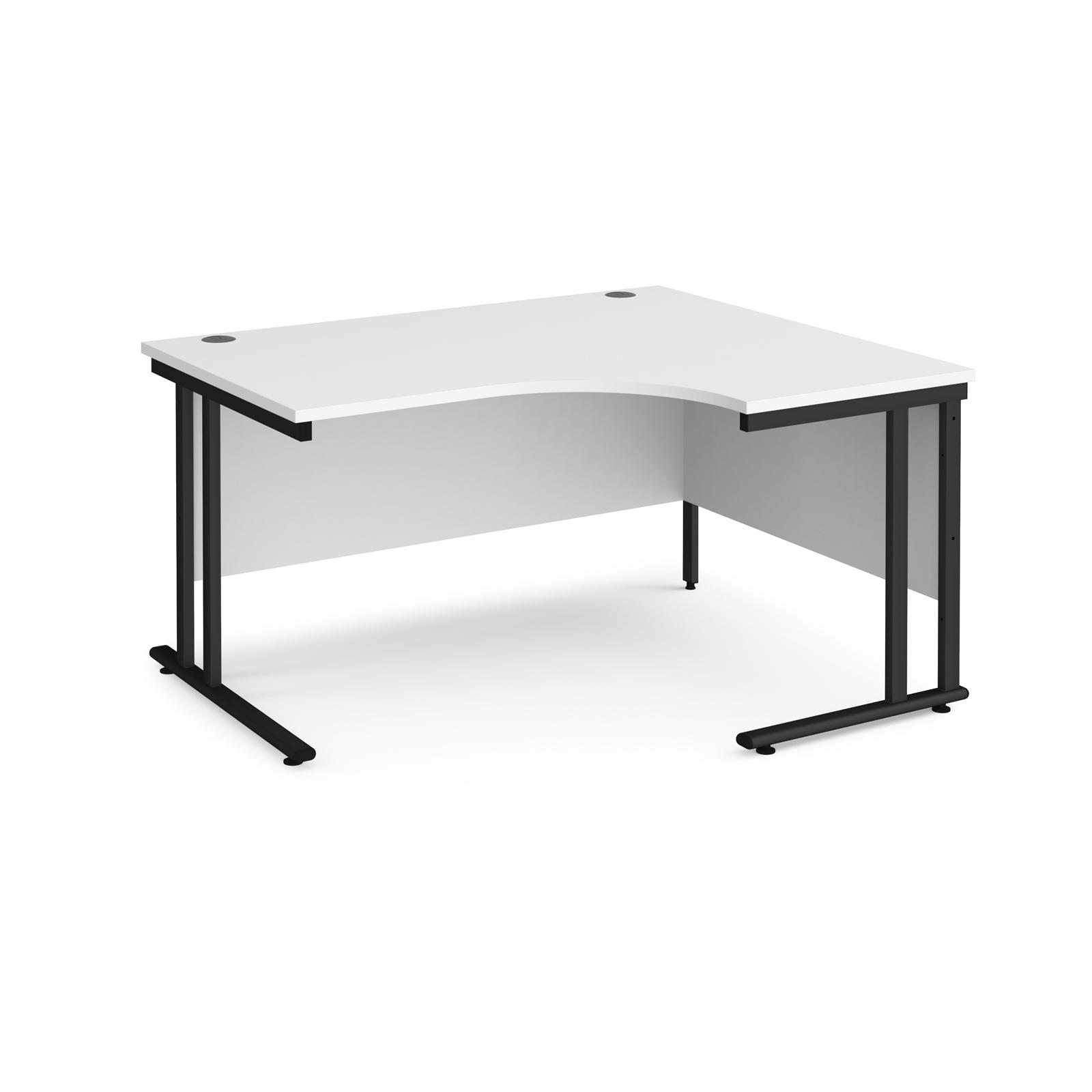 Right Handed Maestro 25 right hand ergonomic desk 1400mm wide - black cantilever leg frame, white top