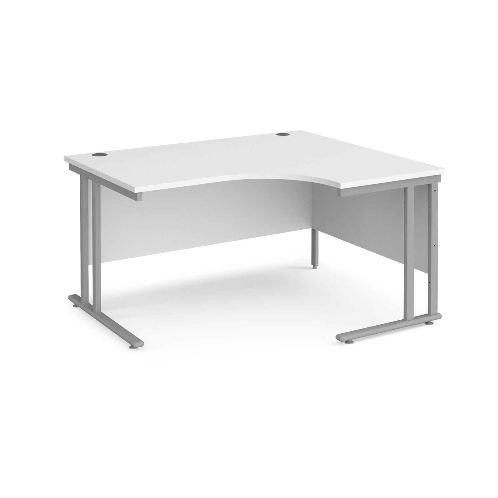 Right Handed Maestro 25 right hand ergonomic desk 1400mm wide - silver cantilever leg frame, white top