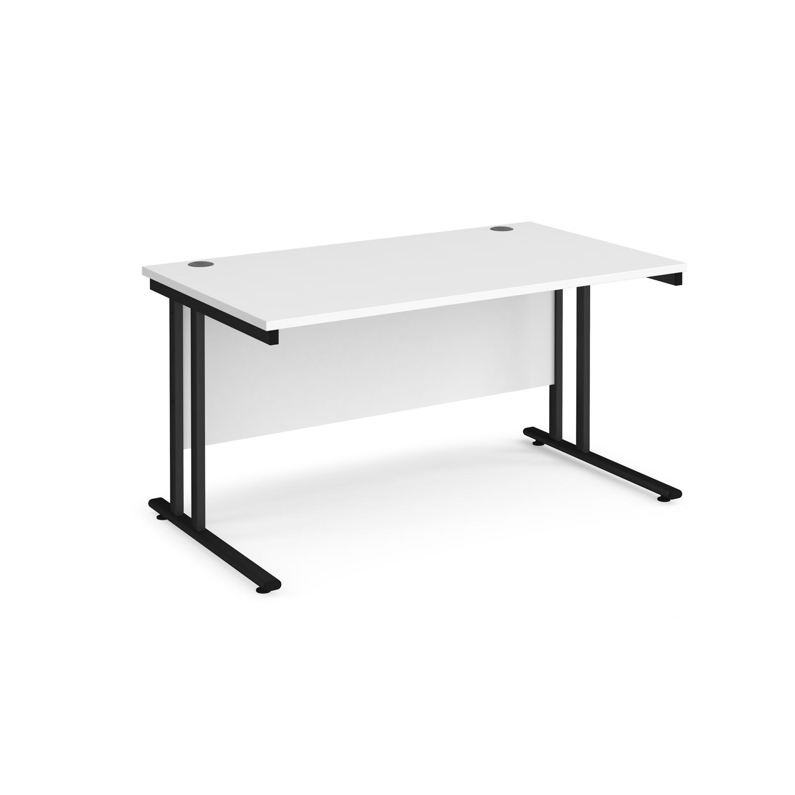 Rectangular Desks Maestro 25 straight desk 1400mm x 800mm - black cantilever leg frame, white top