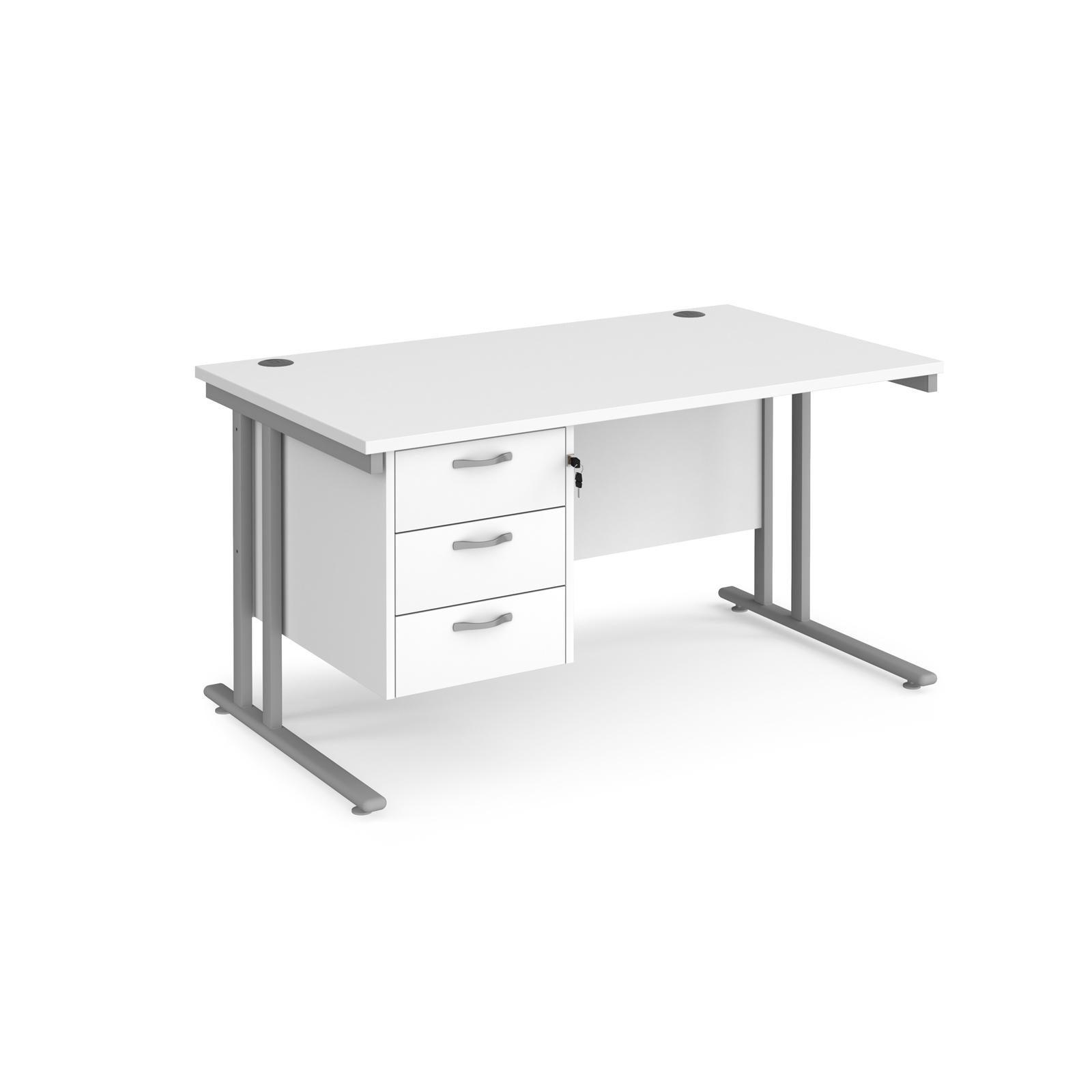 Rectangular Desks Maestro 25 straight desk 1400mm x 800mm with 3 drawer pedestal - silver cantilever leg frame, white top