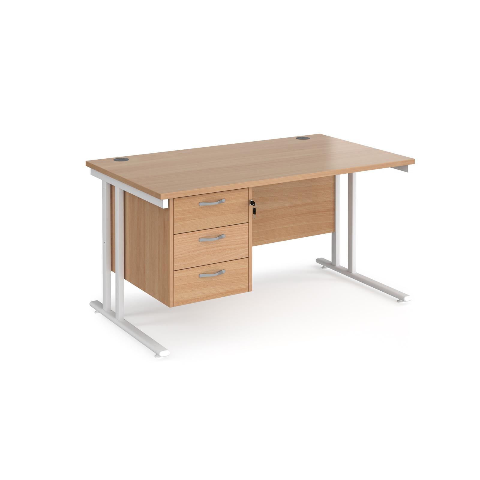 Rectangular Desks Maestro 25 straight desk 1400mm x 800mm with 3 drawer pedestal - white cantilever leg frame, beech top