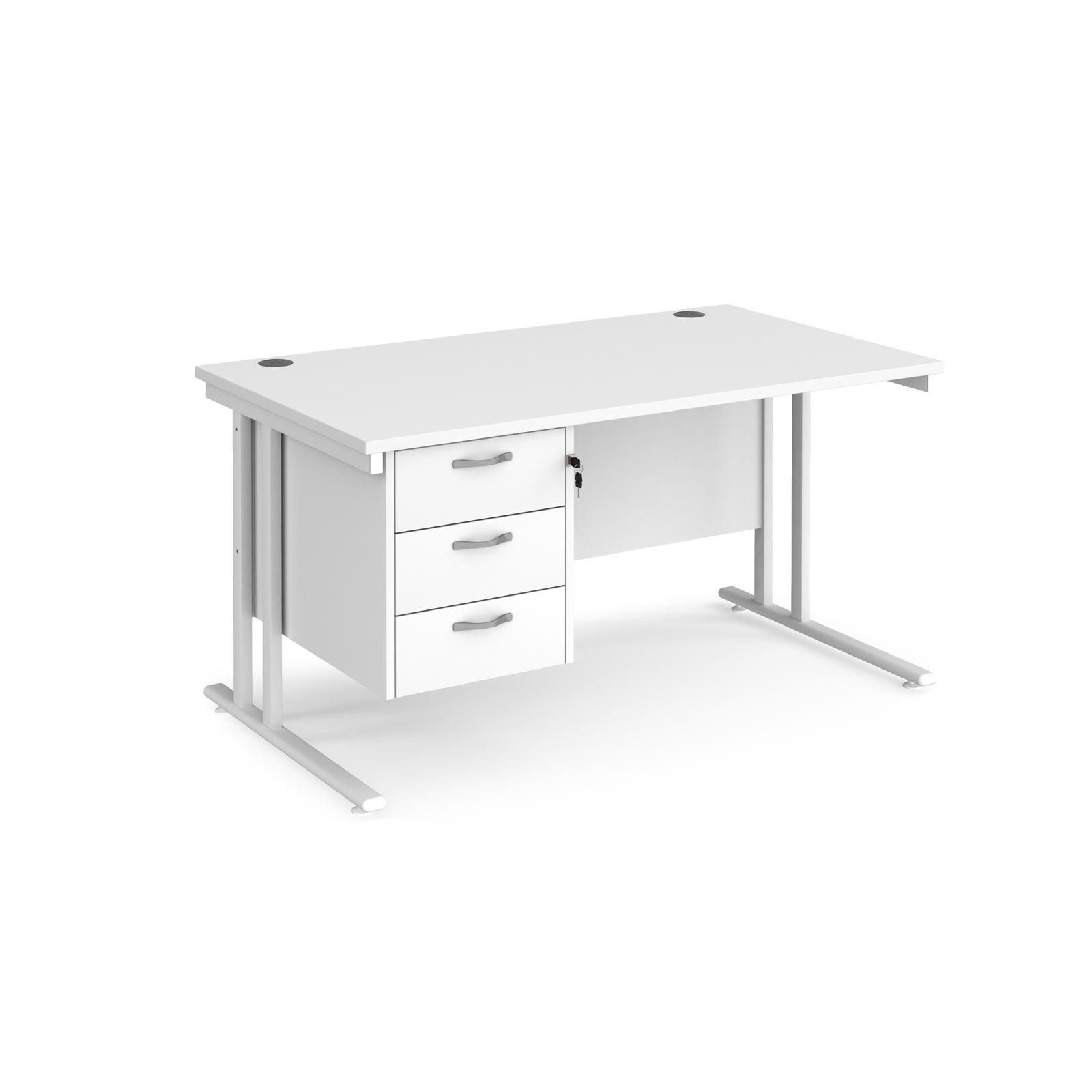 Rectangular Desks Maestro 25 straight desk 1400mm x 800mm with 3 drawer pedestal - white cantilever leg frame, white top