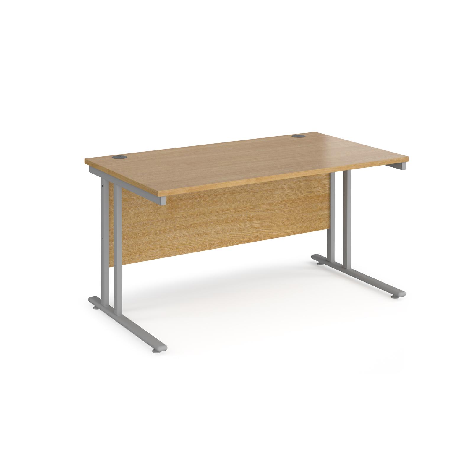Rectangular Desks Maestro 25 straight desk 1400mm x 800mm - silver cantilever leg frame, oak top