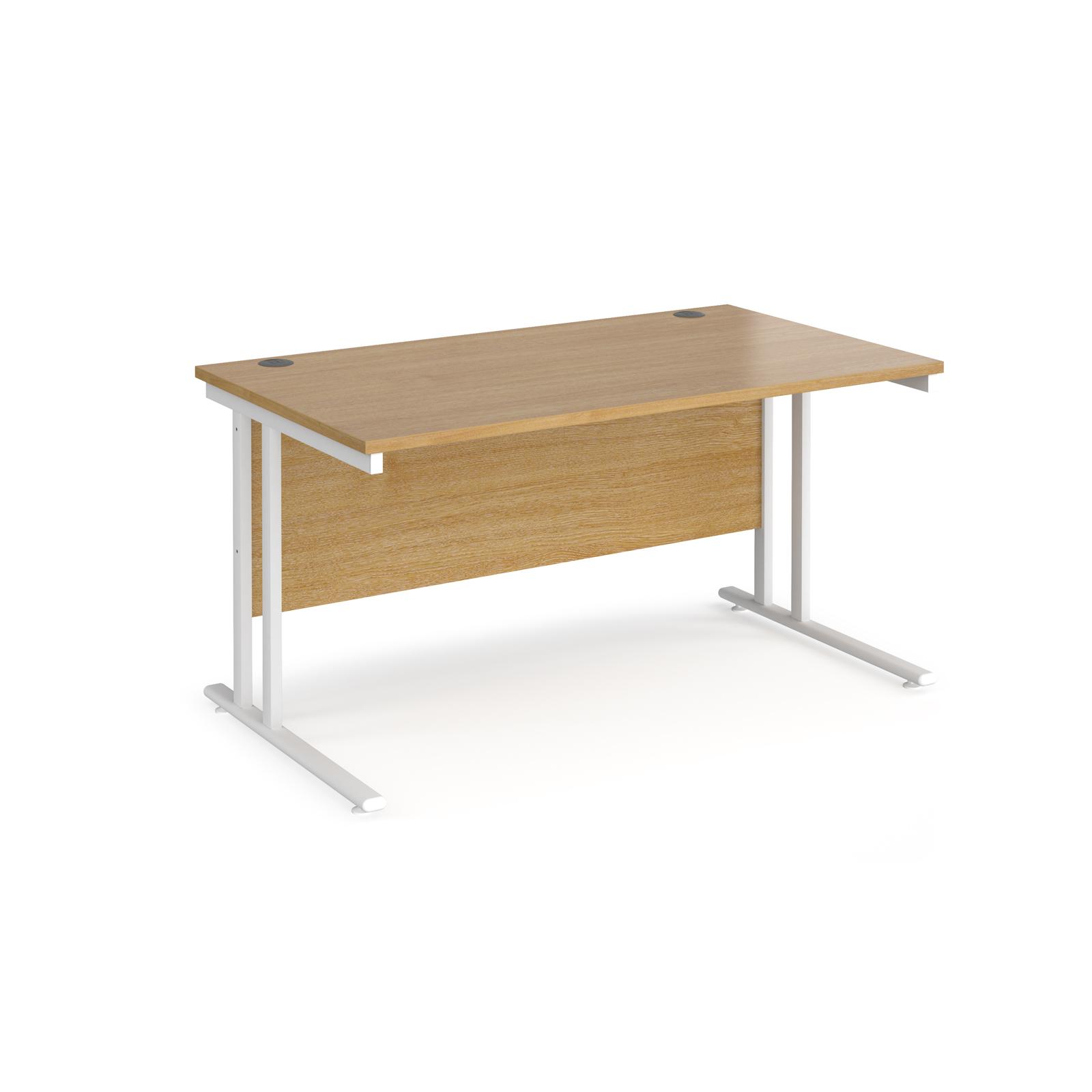 Rectangular Desks Maestro 25 straight desk 1400mm x 800mm - white cantilever leg frame, oak top