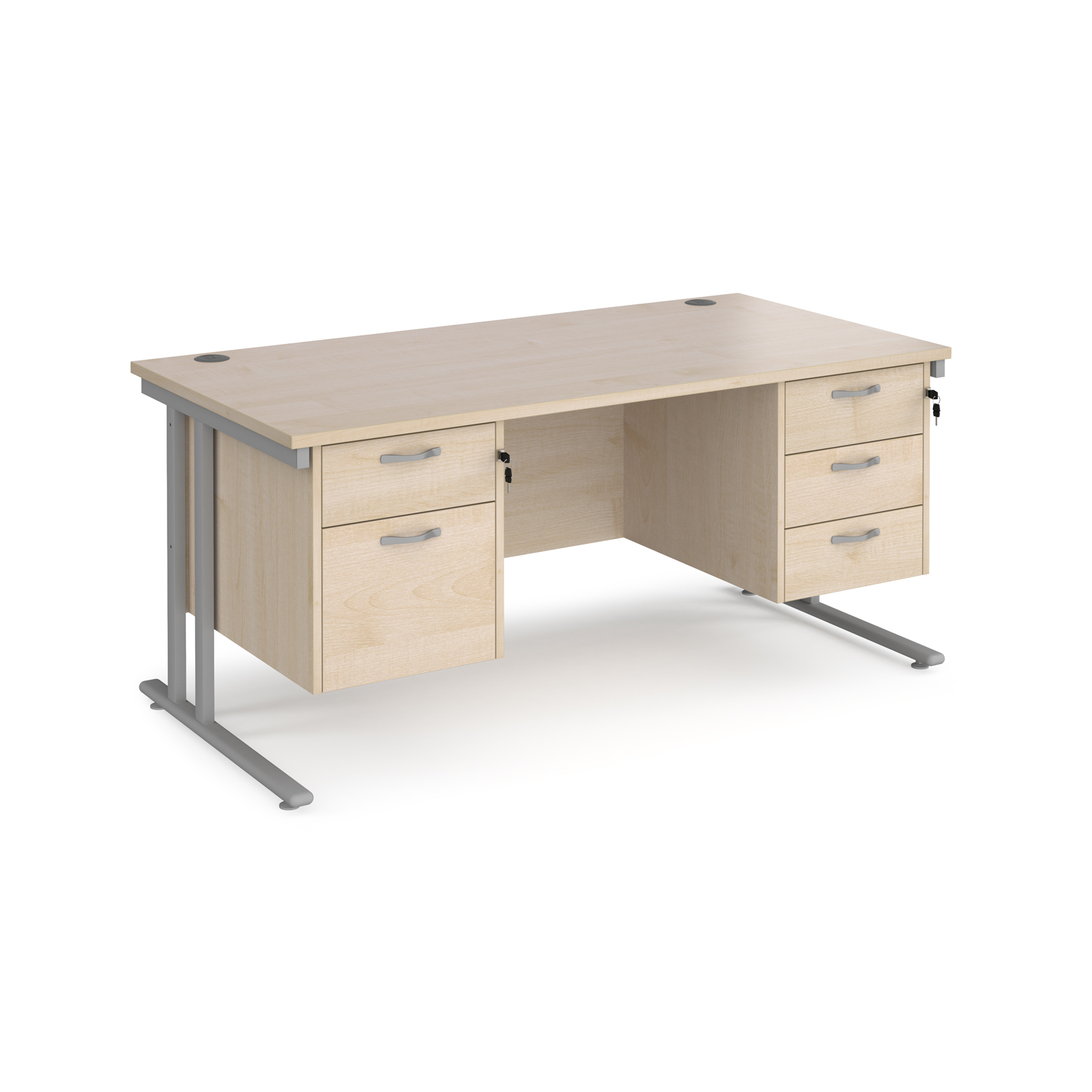 Maestro 25 straight desk 1600mm x 800mm with 2 and 3 drawer pedestals - silver cantilever leg frame, maple top