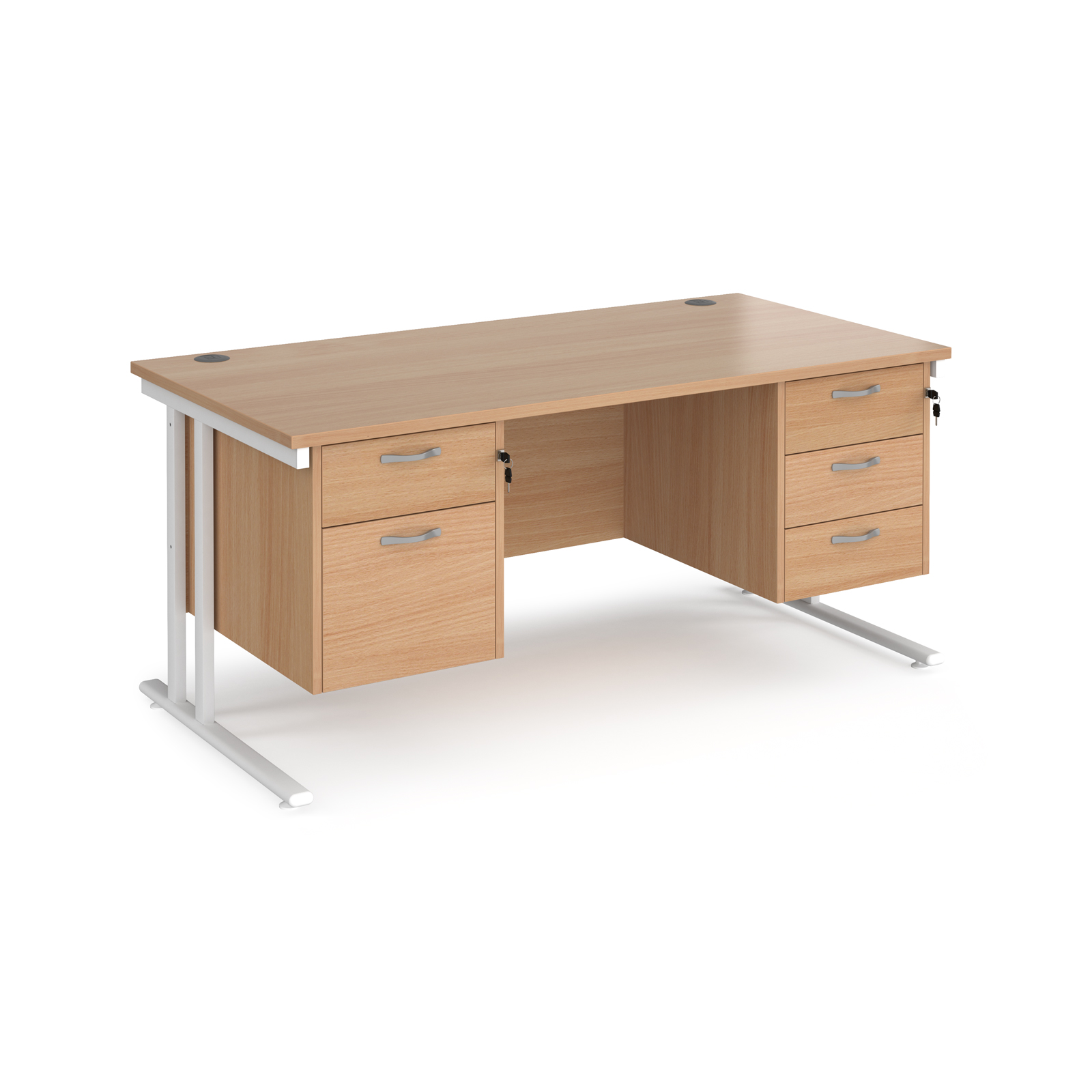 Maestro 25 straight desk 1600mm x 800mm with 2 and 3 drawer pedestals - white cantilever leg frame, beech top