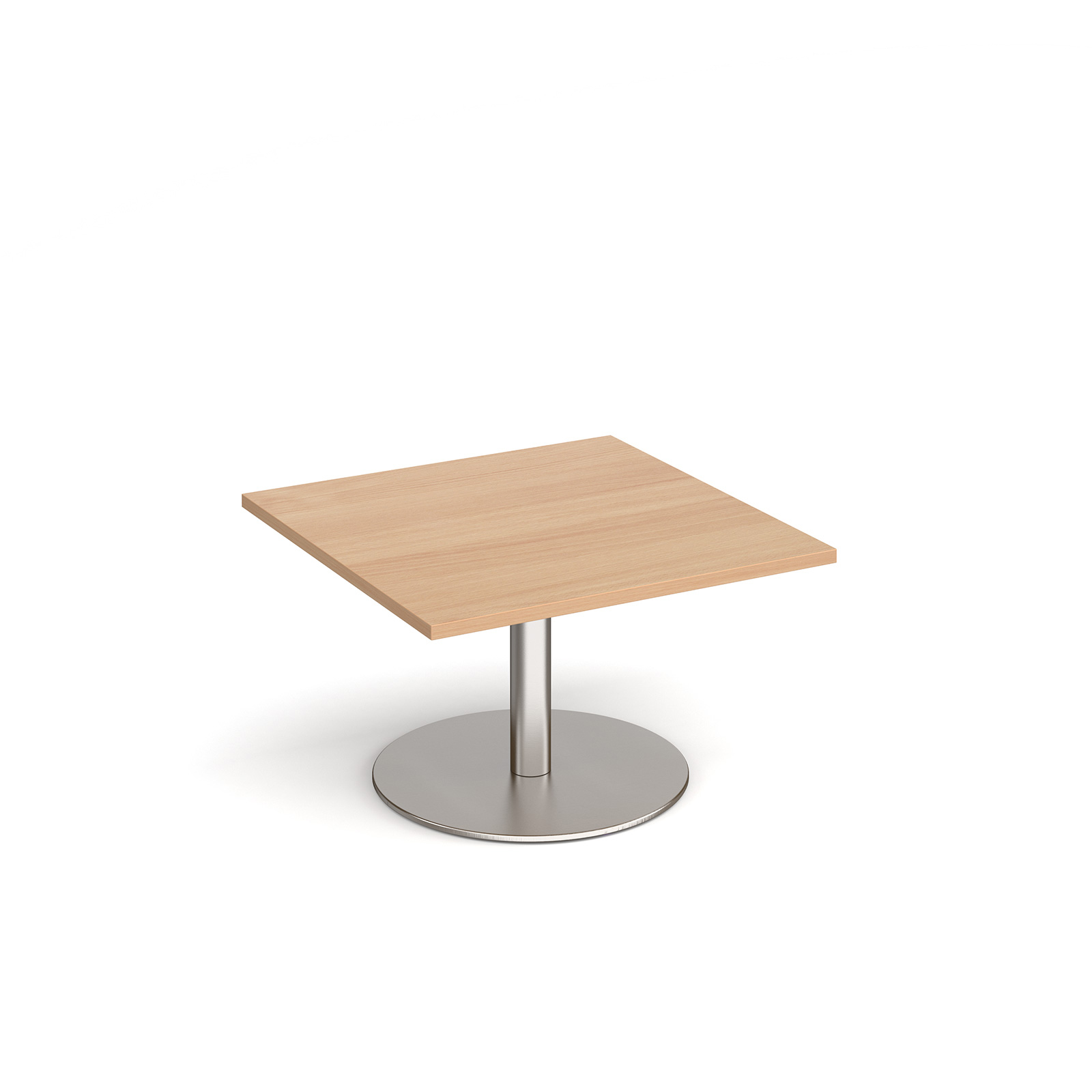 Monza square coffee table with flat round base