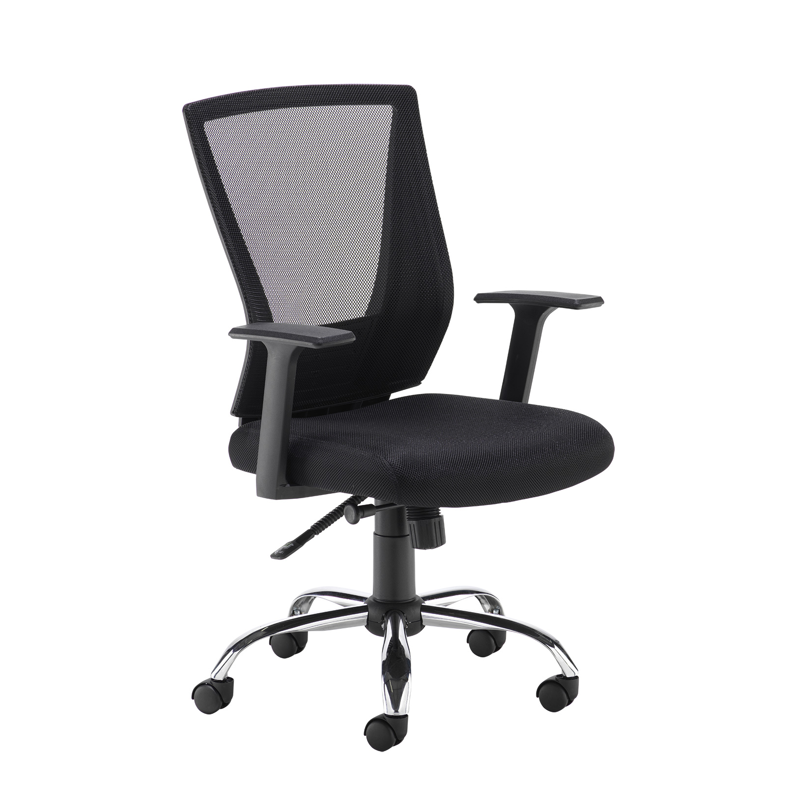 Desk Chairs Miller black mesh back operator chair with black fabric seat and chrome base