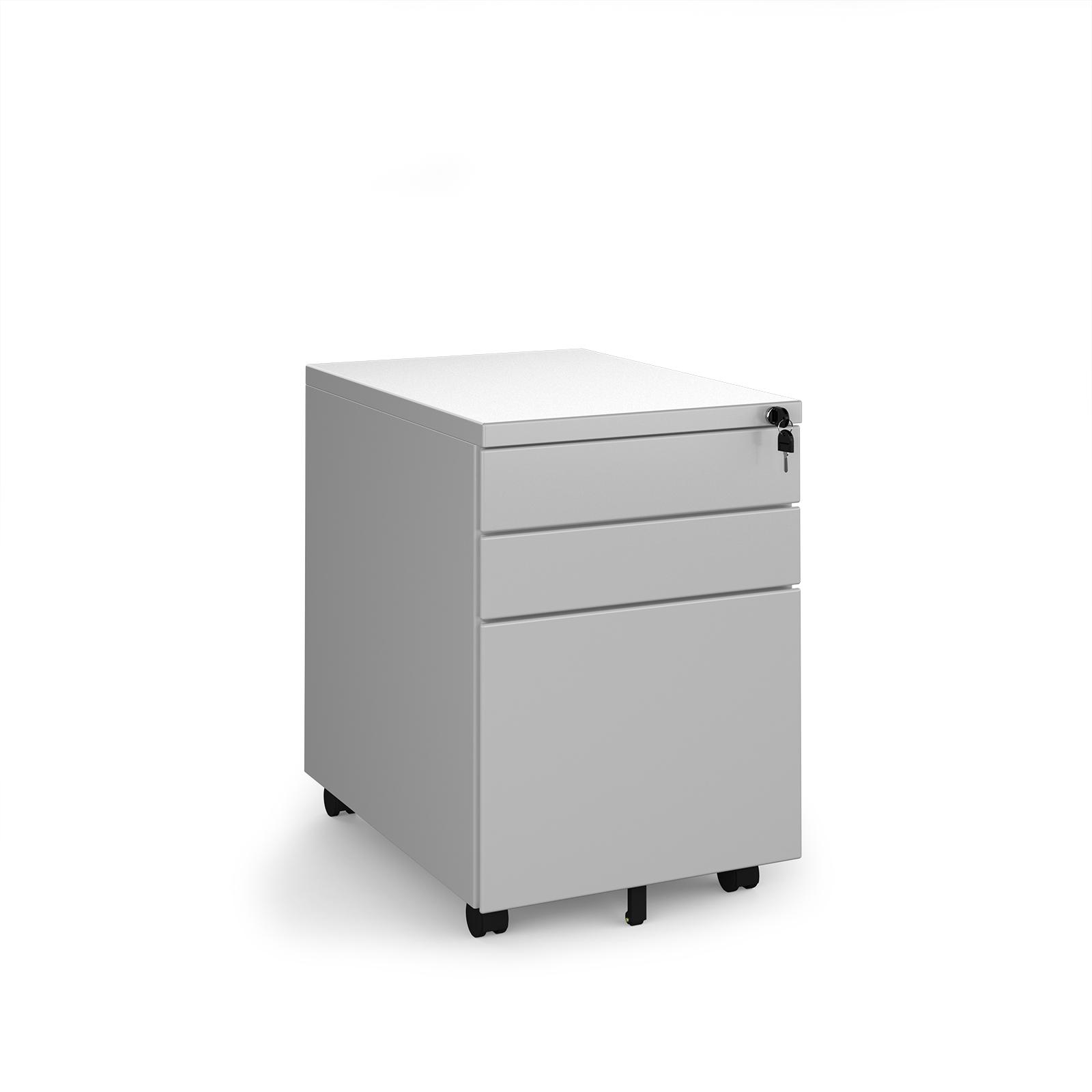 Desk Drawers Steel 3 drawer wide mobile pedestal - silver