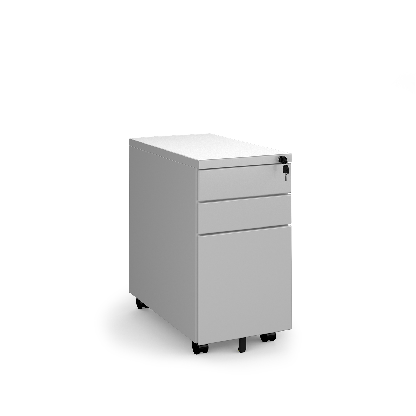 Steel 3 drawer narrow mobile pedestal - silver