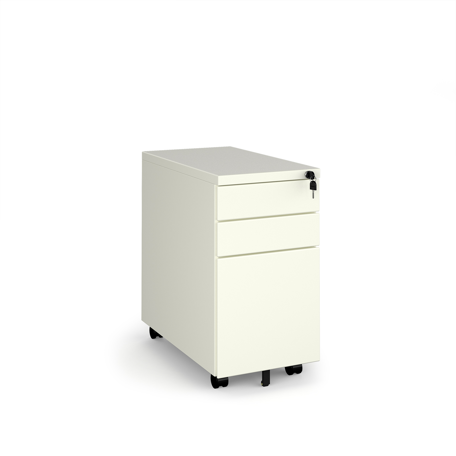 Steel 3 drawer narrow mobile pedestal - white
