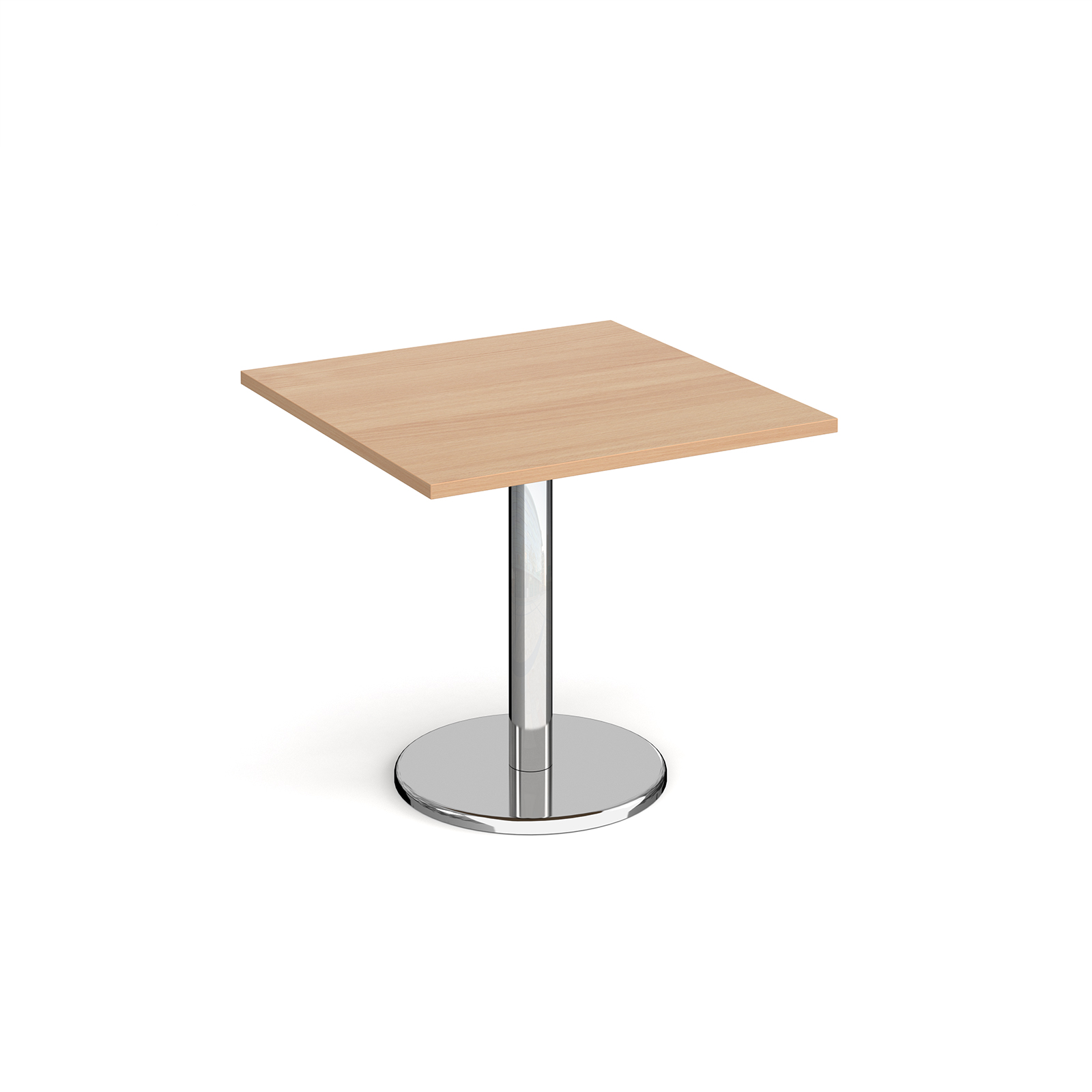 Pisa square dining table with round base