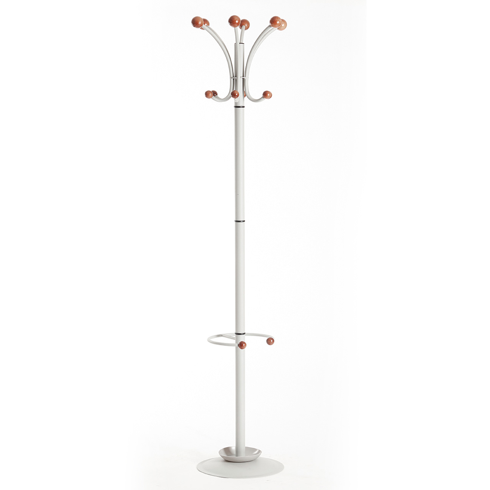 Coat & umbrella stand with 12 coat hooks and 4 umbrella hooks 1840mm high - silver