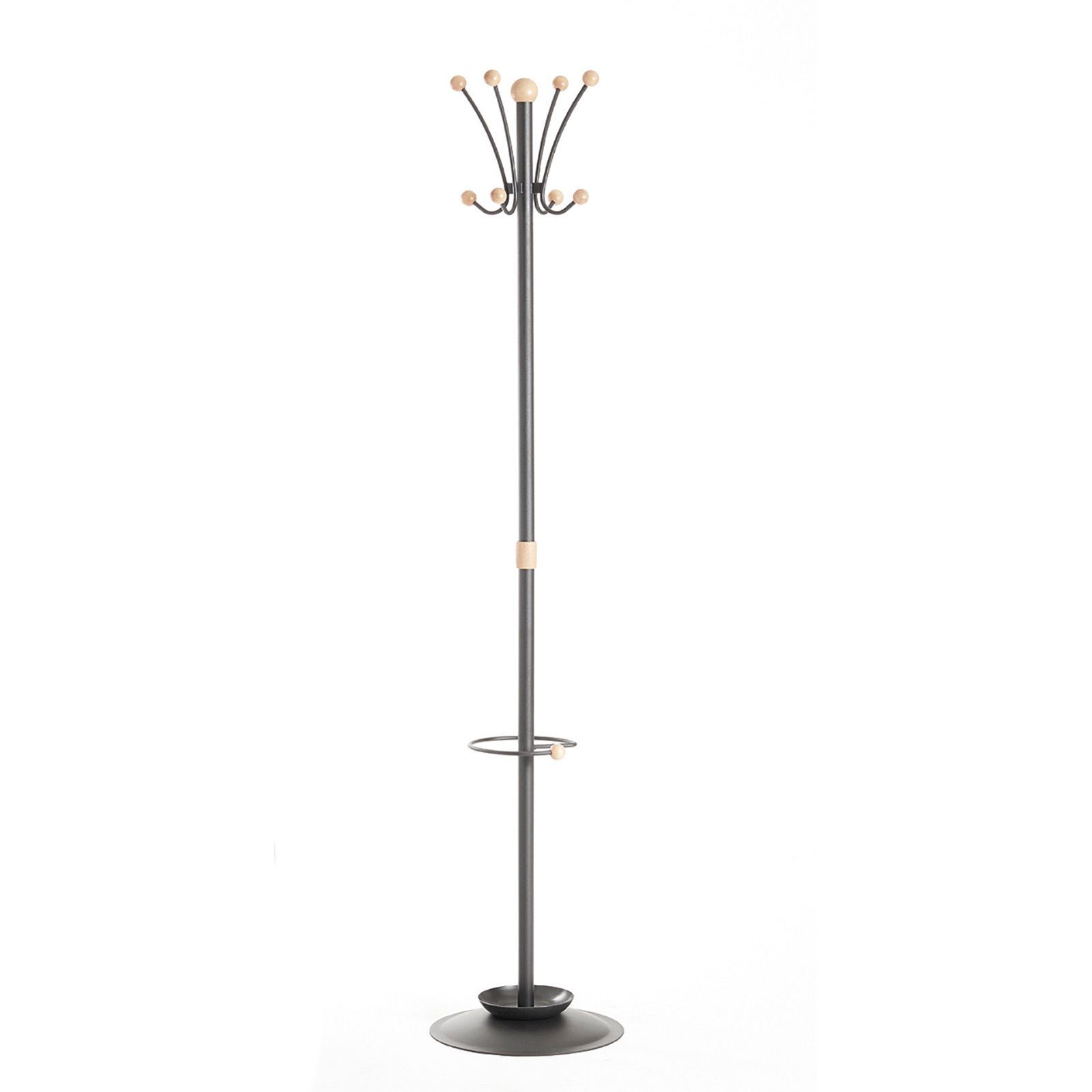 Umbrella Stands Coat & umbrella stand with 8 coat hooks and 8 umbrella hooks 1780mm high - black and cream