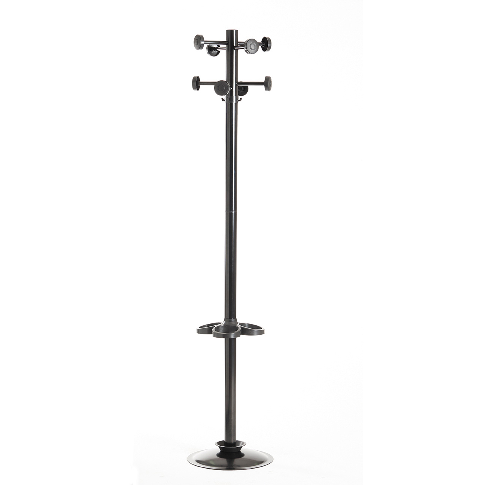 Coat & umbrella stand with 8 coat hooks and 8 umbrella hooks 1780mm high - black