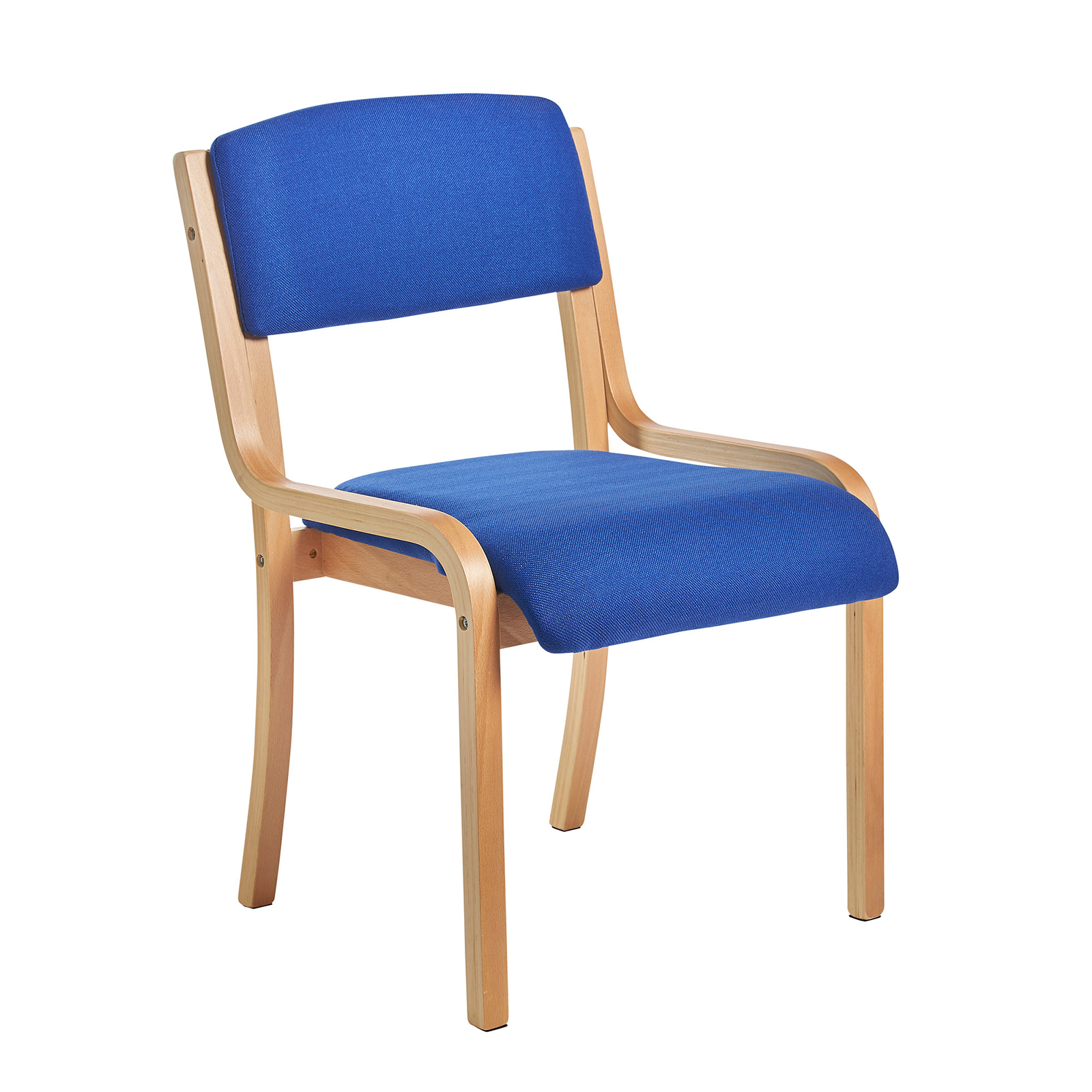 Boardroom / Meeting Prague wooden conference chair with no arms - blue