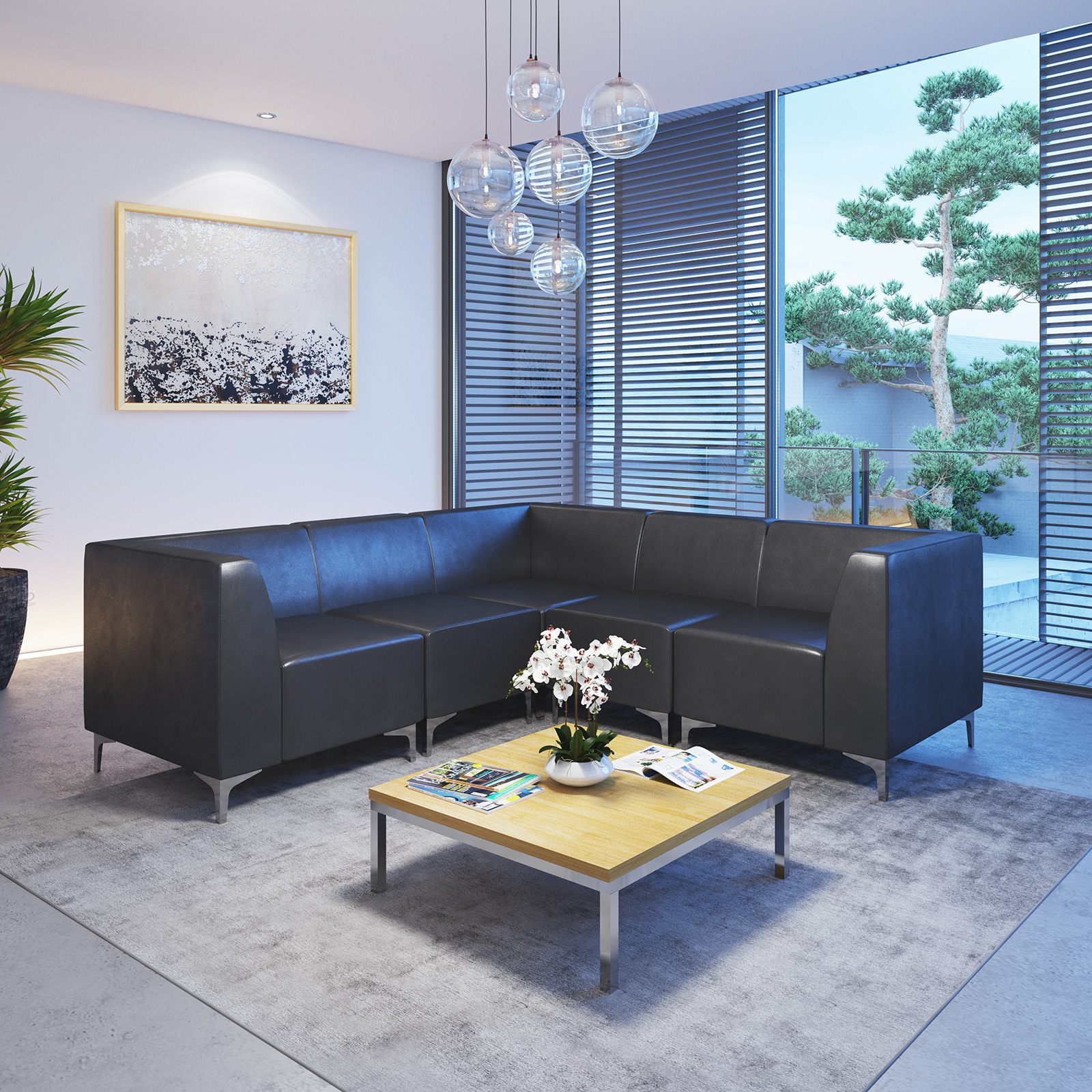 Quatro leather modular reception seating corner unit with backs - black