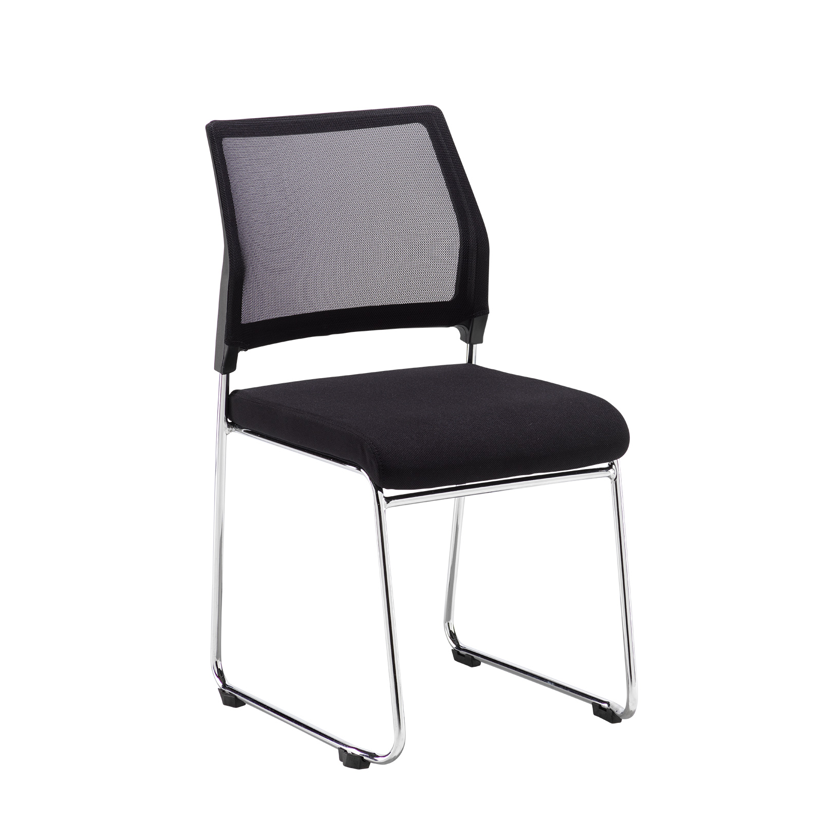 Boardroom / Meeting Quavo black mesh back multi-purpose chair with black fabric seat and chrome wire frame (pack of 4)