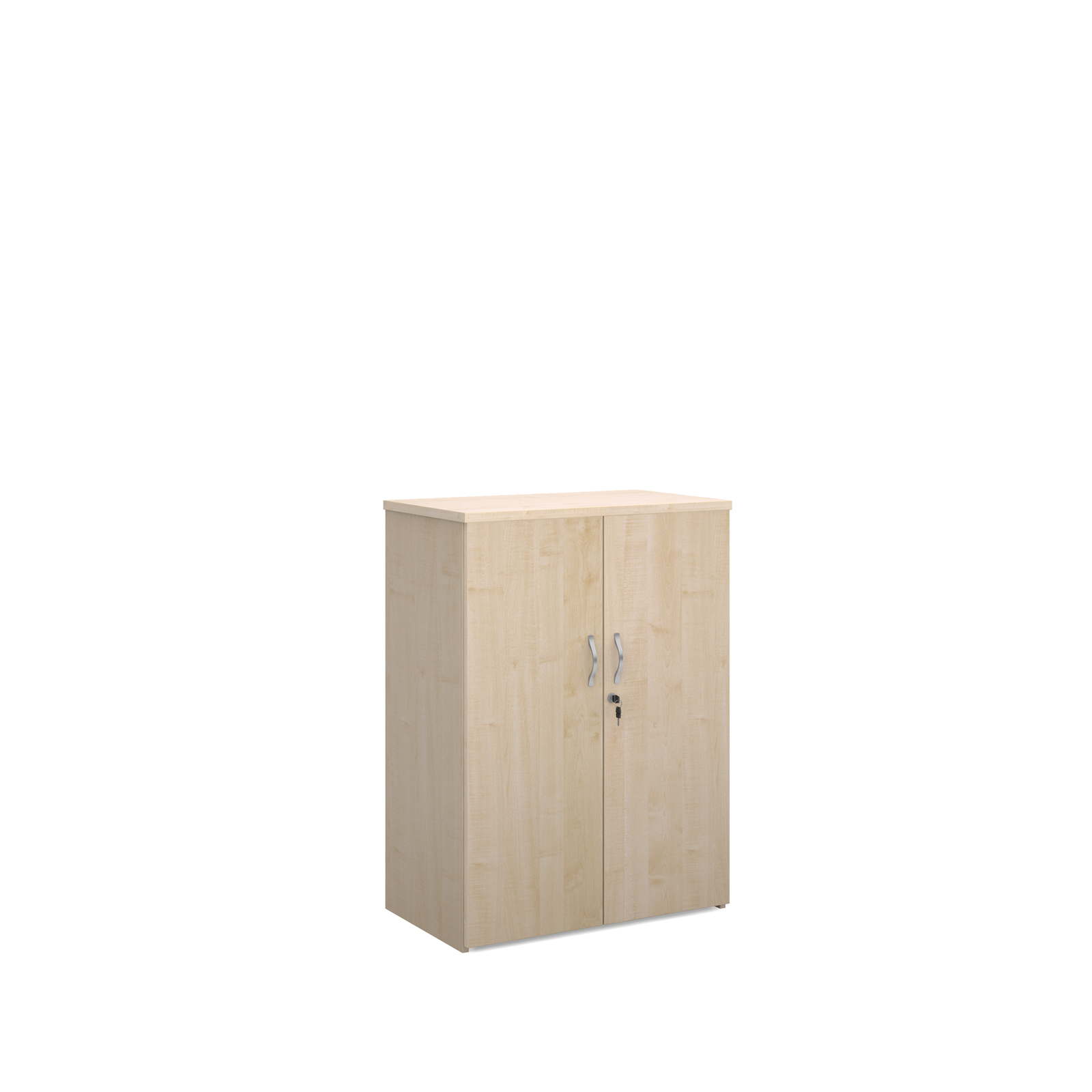 Universal double door cupboard 1090mm high with 2 shelves - maple