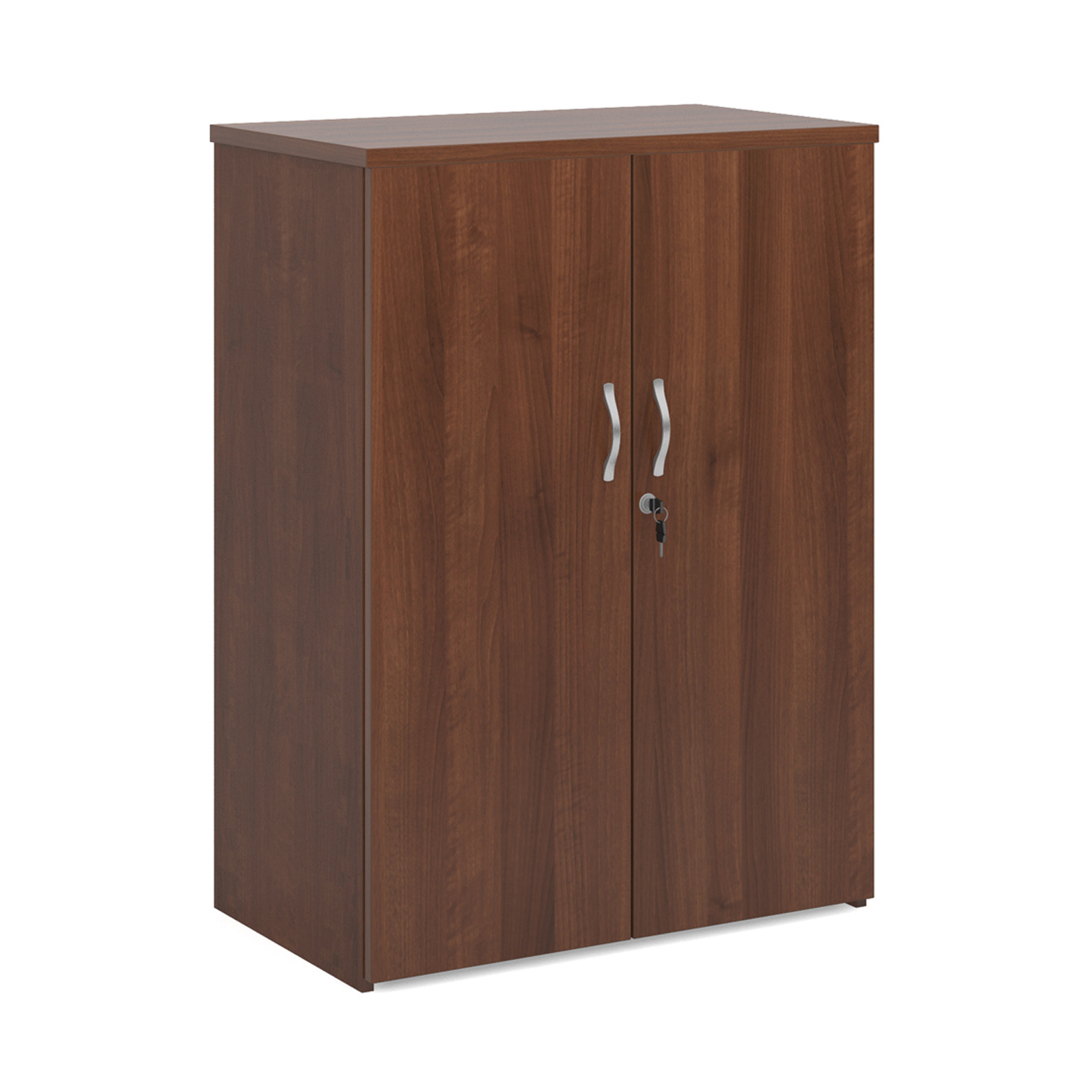 Up to 1200mm High Universal double door cupboard 1090mm high with 2 shelves - walnut