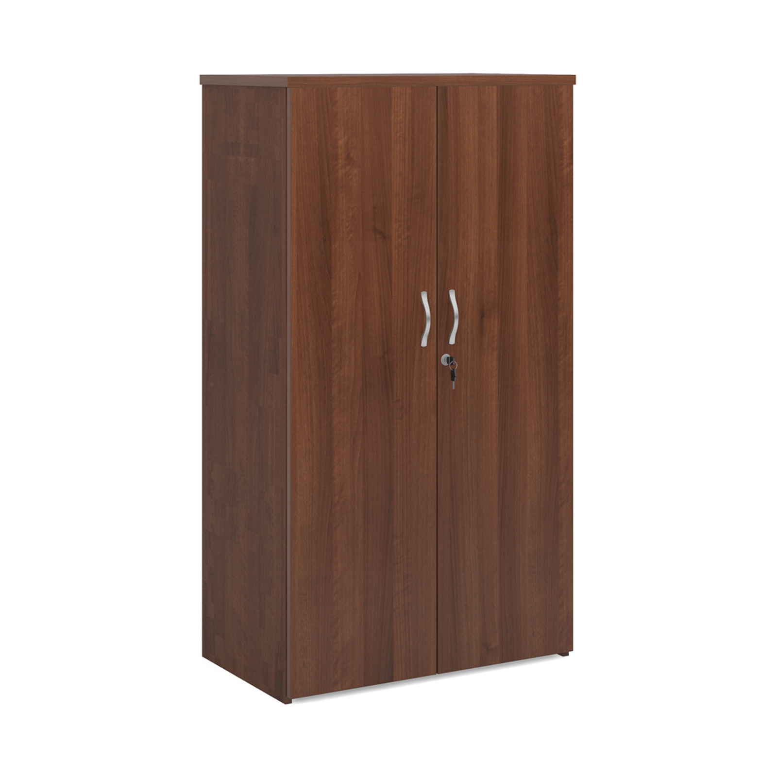 Over 1200mm High Universal double door cupboard 1440mm high with 3 shelves - walnut