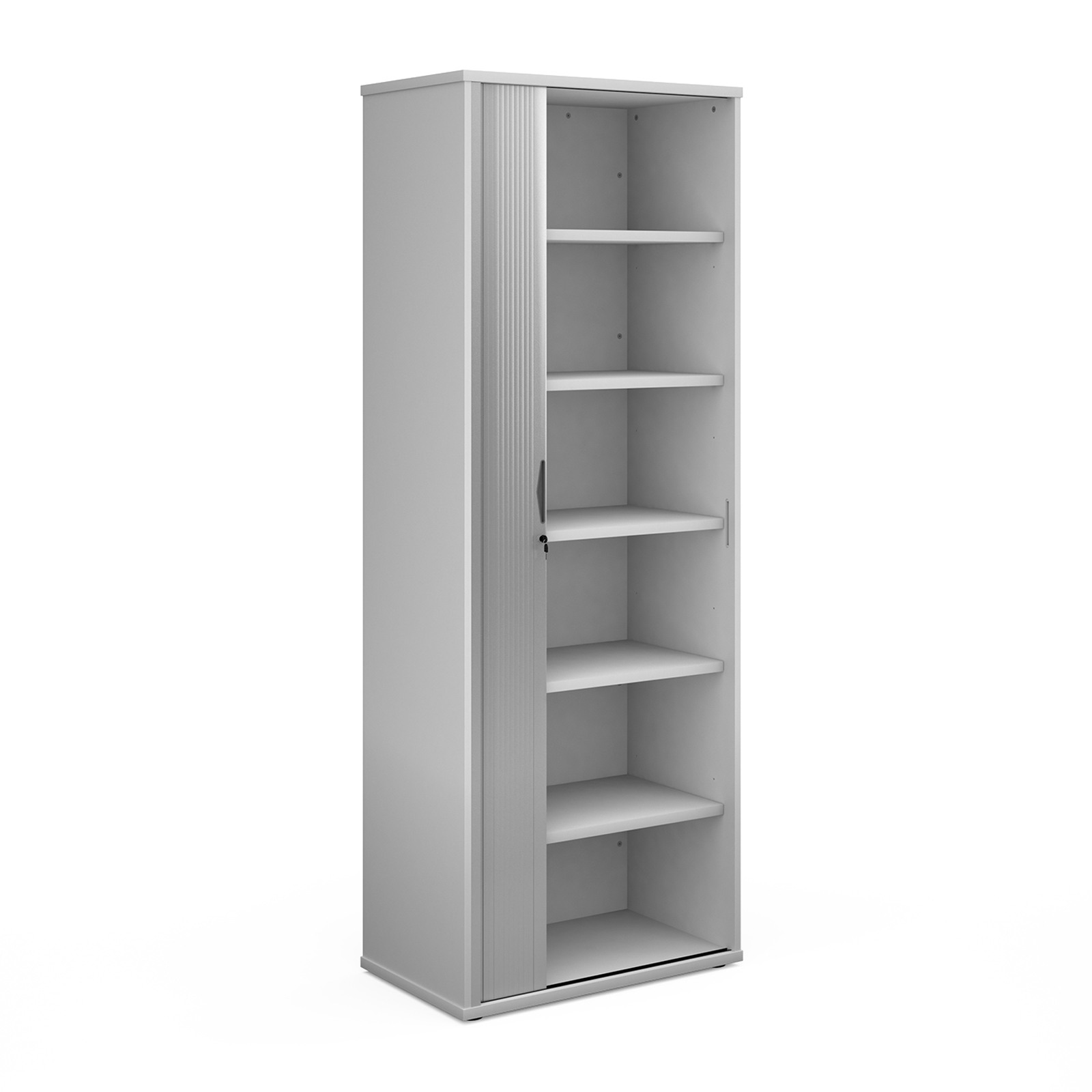 Over 1200mm High Universal single door tambour cupboard 2140mm high with 5 shelves - white with silver door