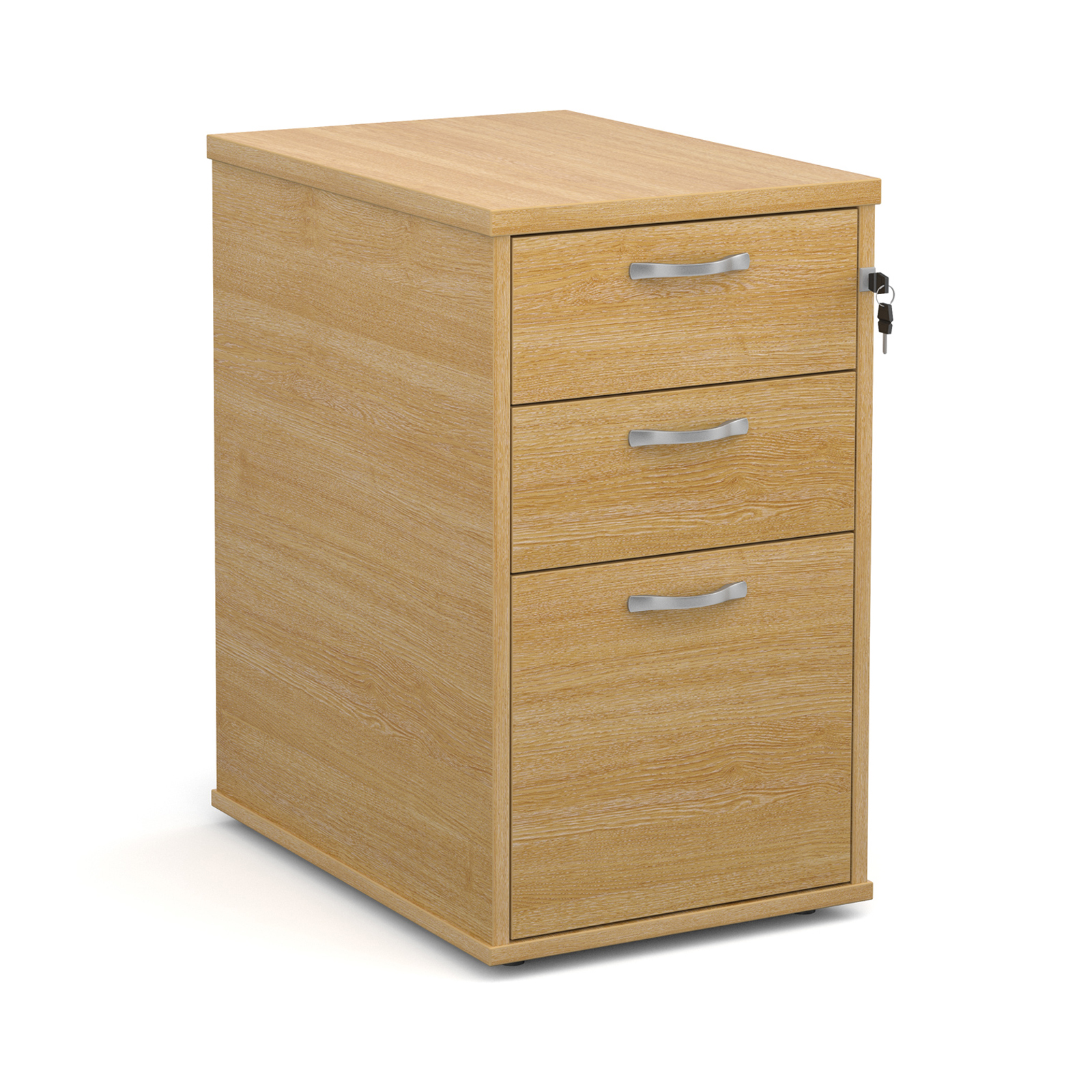 Desk high 3 drawer pedestal with silver handles 600mm deep - oak